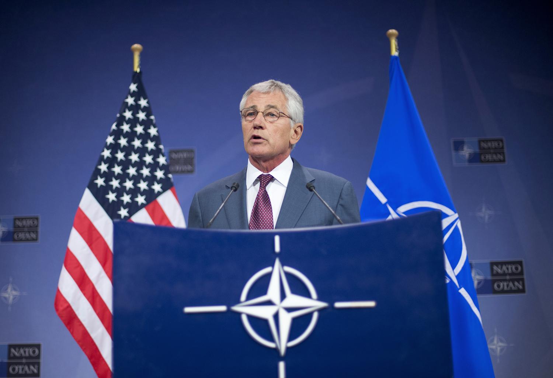 U.S. Defense Secretary Chuck Hagel speaks during a news conference in Brussels on June 4, 2014.