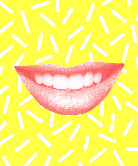 Lips on a Yellow Background