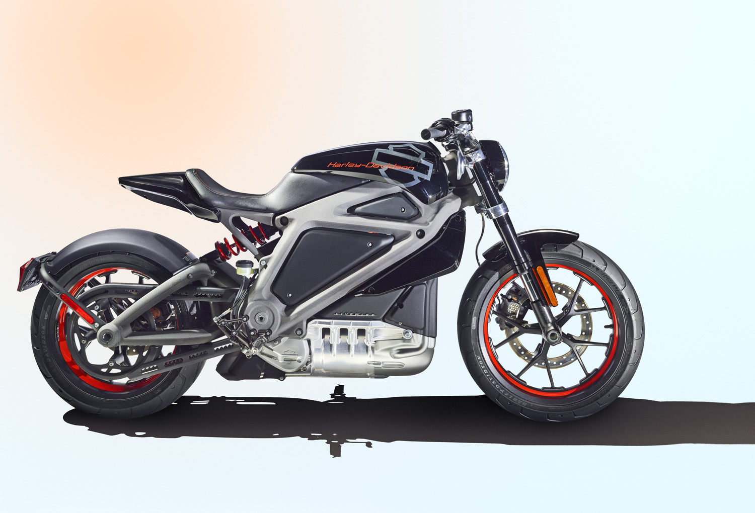 Profile full body photograph of Harley-Davidson's 2014 battery powered motorcycle, taken on June 5, 2014 at the Harley-Davidson headquarters in Milwaukee, WI.