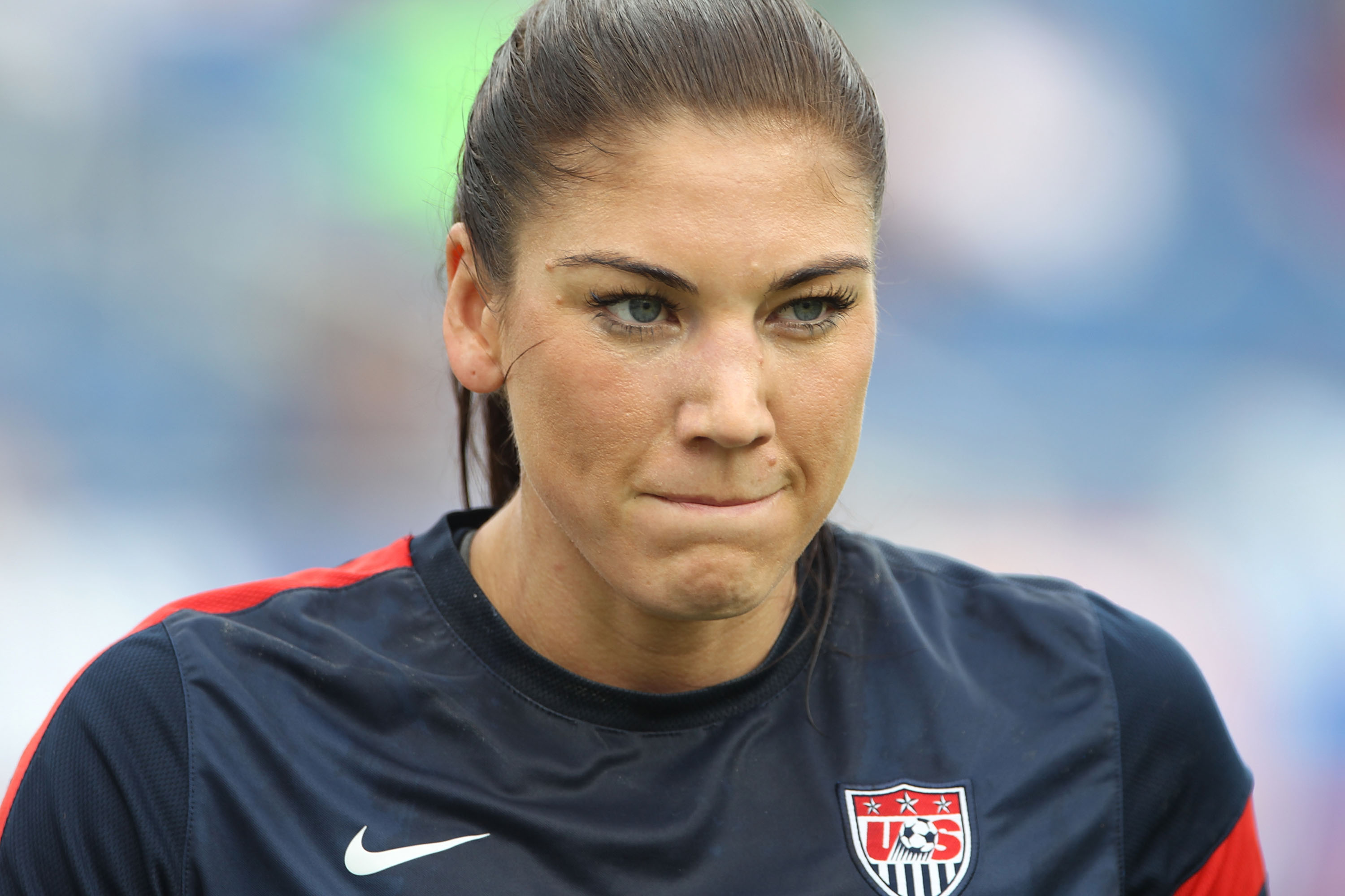 Hope Solo #1 of the United States warms up prior to playing against Russia at FAU Stadium on February 8, 2014 in Boca Raton, Florida.