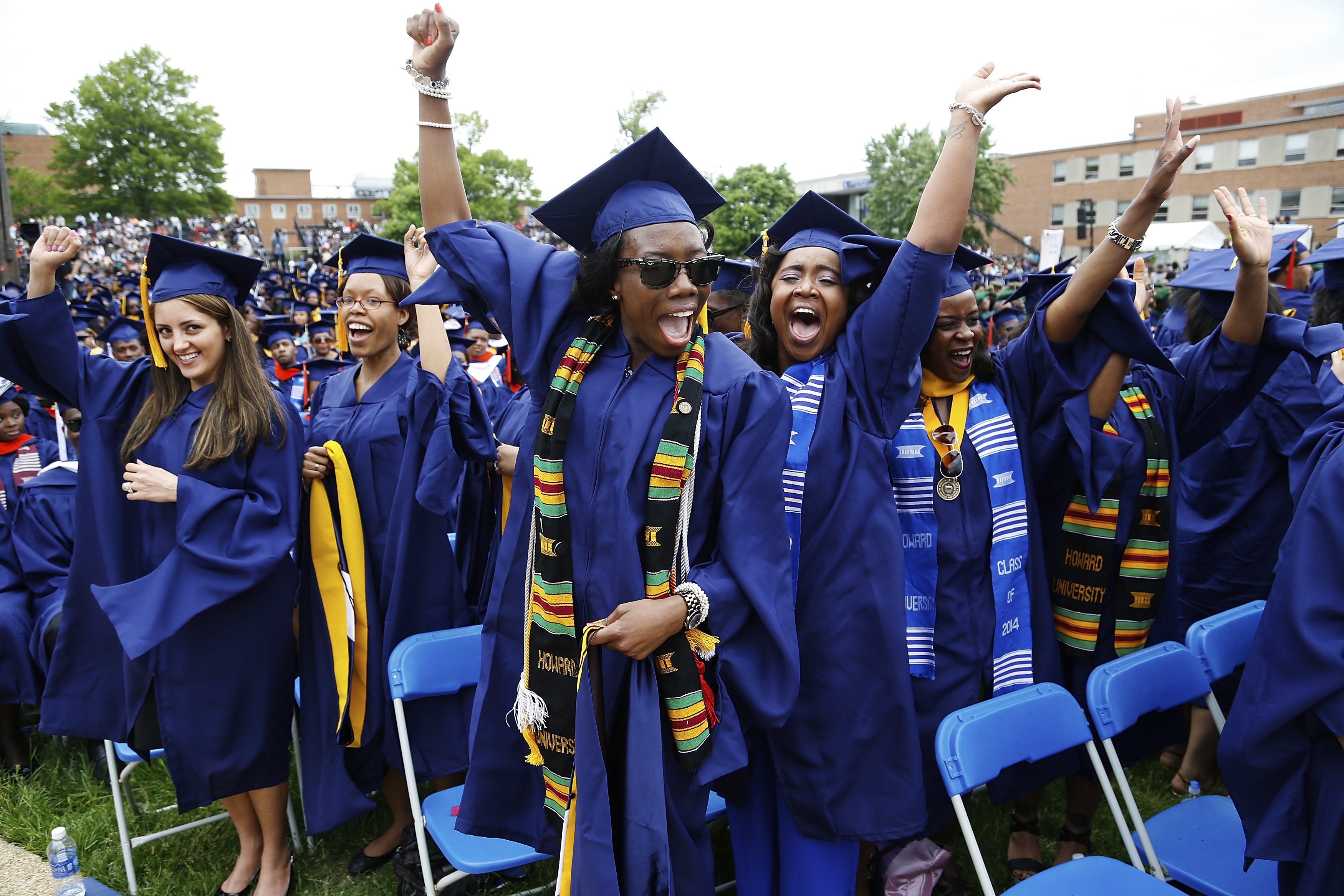 Graduates celebrate during the 2014 graduation ceremonies at Howard University, a well-known HBCU, in Washington on May 10, 2014.