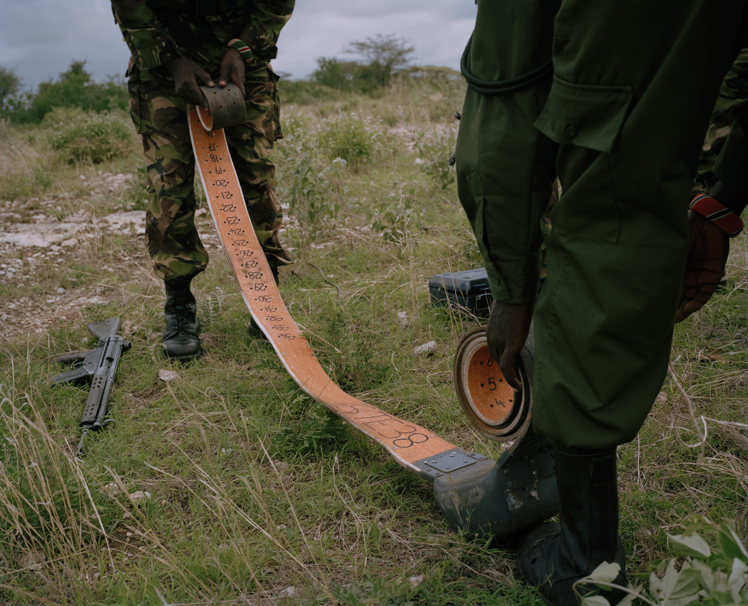 An elephant satellite tracking collar is prepared by rangers at the Sera Community Conservancy in northern Kenya. The collar will be fitted to a lone bull elephant, supplying scientists with a detailed plan of his migration. It will also be used to monitor his well being as he travels through areas rife with poaching.