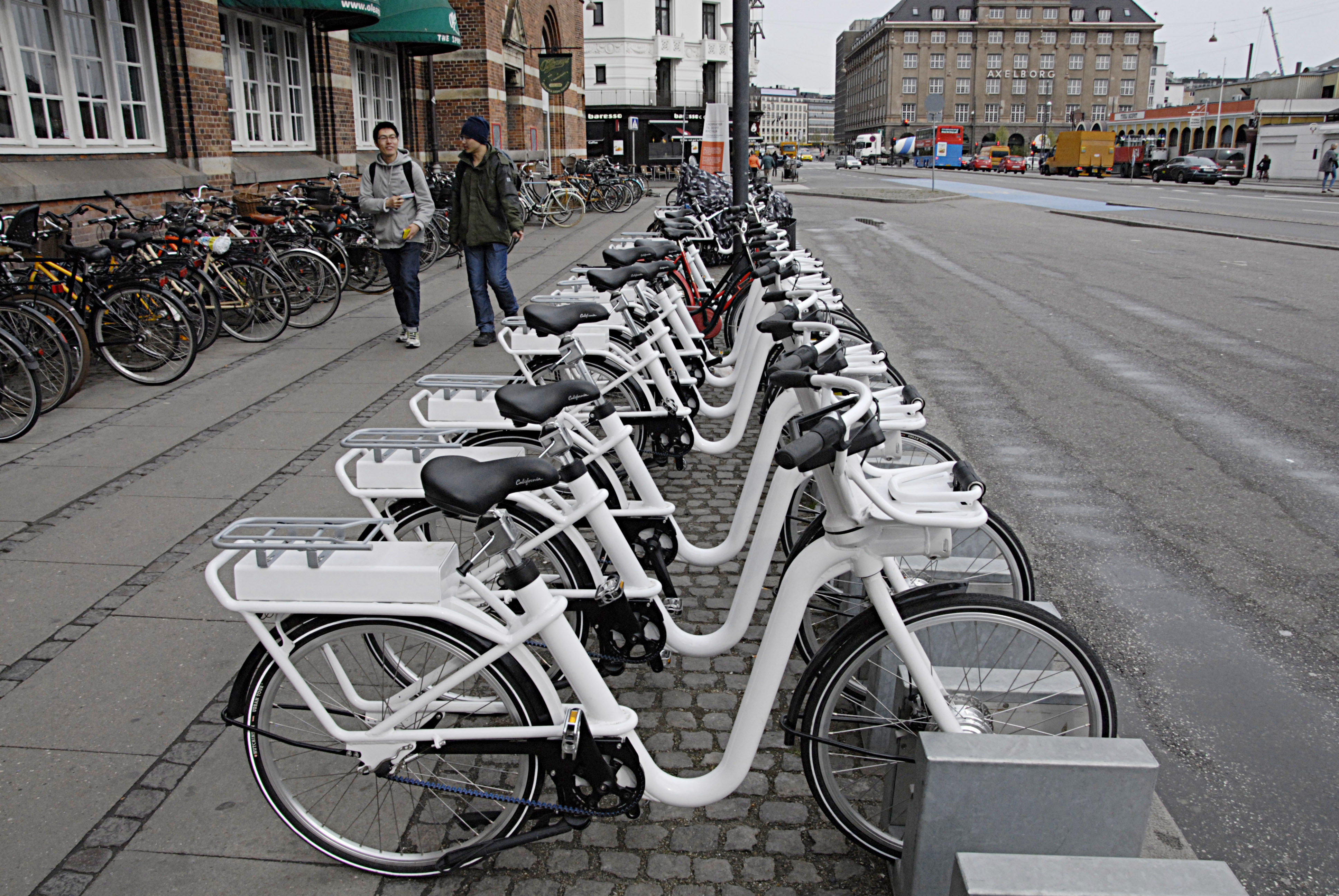 City electric bikes are for rent for visitors at central station on April 24, 2014 in Copenhagen.