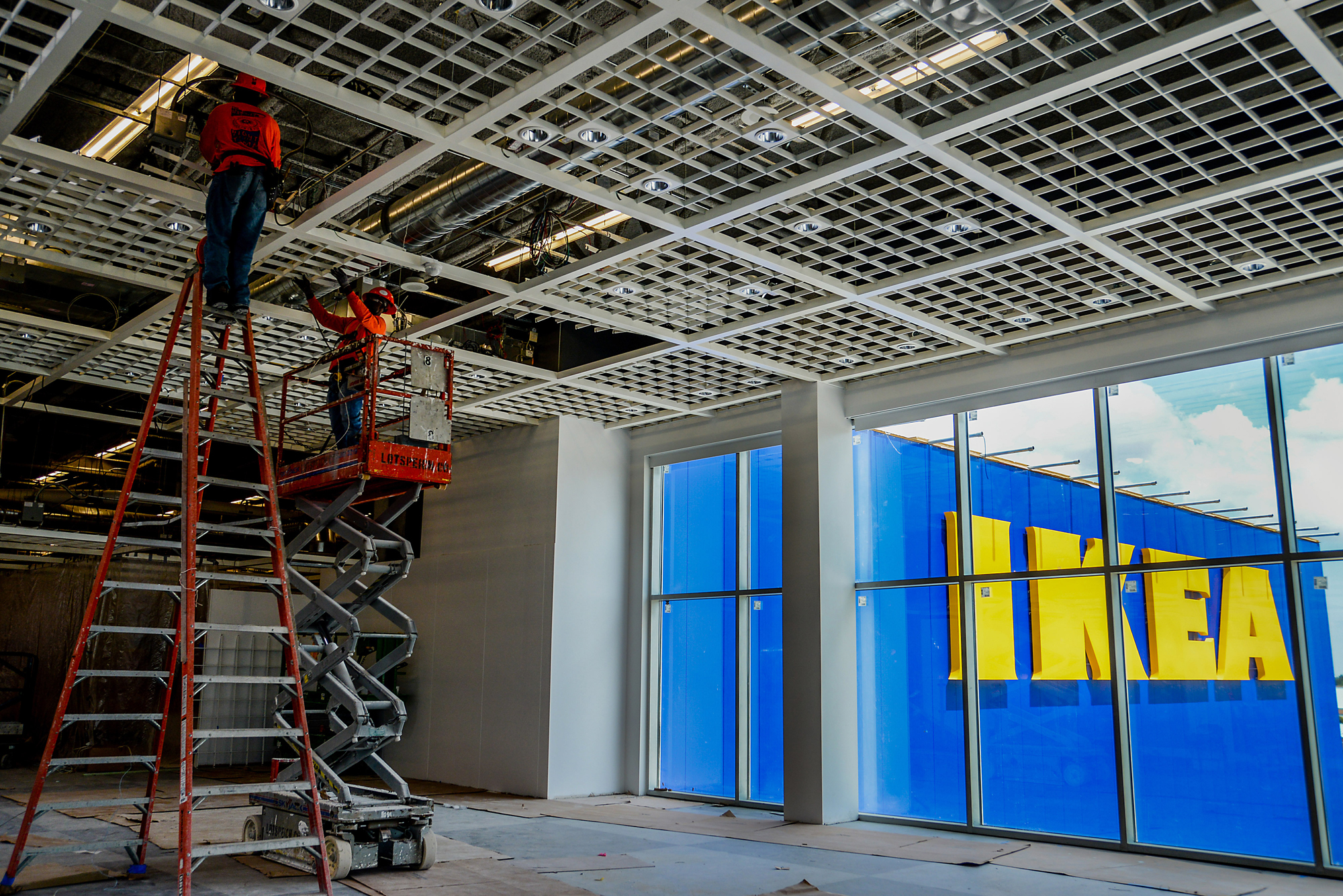 Contractors work on construction of a new IKEA store in Miami, May 20, 2014.