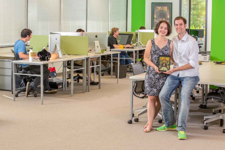 Imangi Studios co-founders  Keith Shepherd and Natalia Luckyanova pose in a company photo.