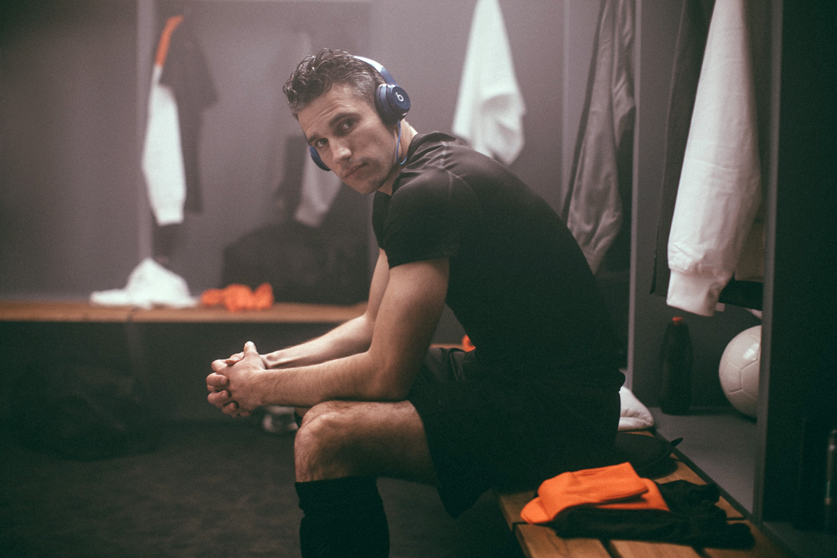 Robin van Persie of Holland featured in the Beats by Dr. Dre 2014 World Cup commercial, directed by photographer Nabil Elderkin.