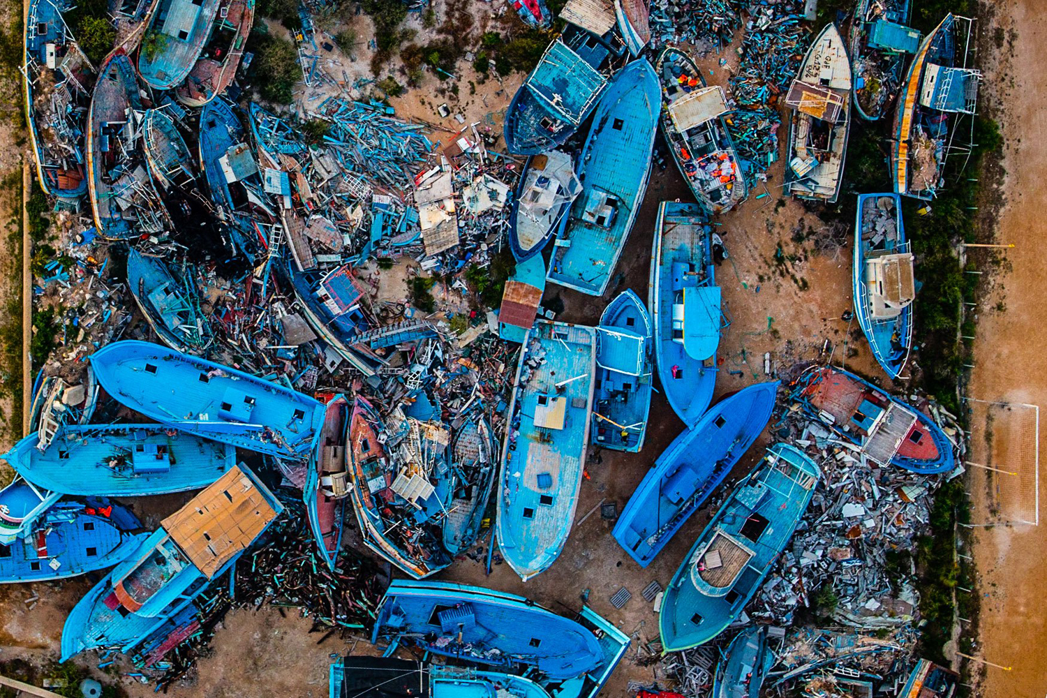 Abandoned boats graveyard in Lampedusa, May 29, 2014.