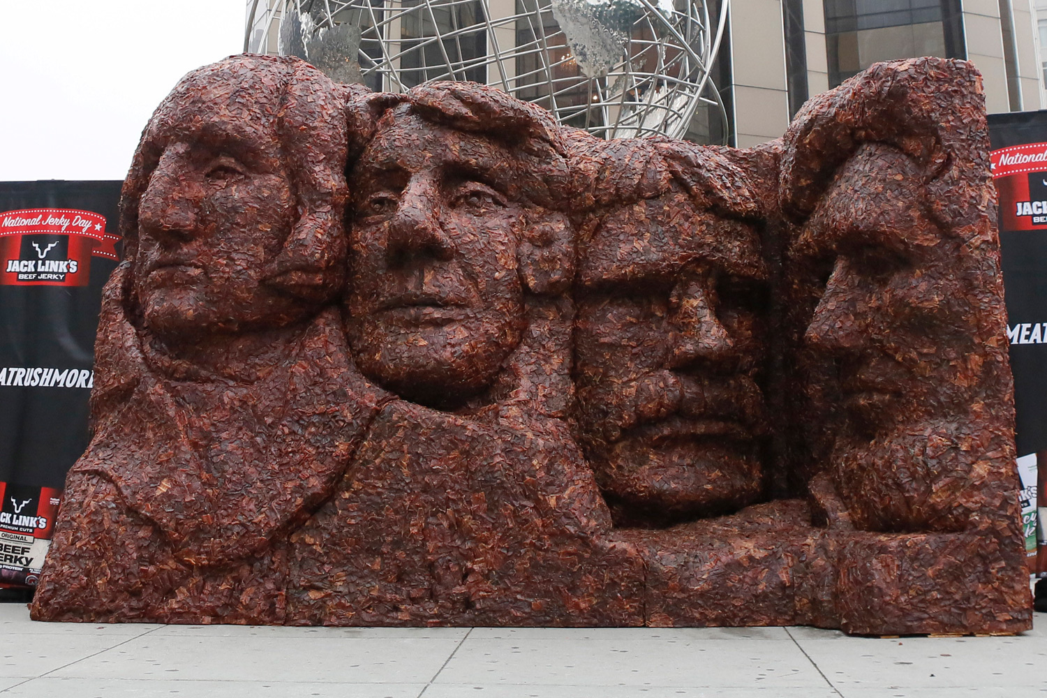 Jack Link's debuts Meat Rushmore, a 13-foot tall, 17-foot wide meat replica of Mount Rushmore National Memorial, on display Thursday, June 12, 2014, in New York City's Columbus Circle.