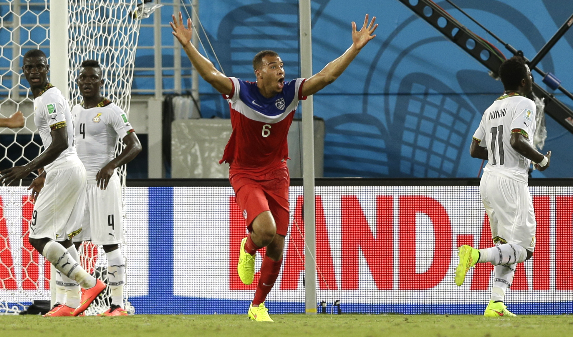 United States' John Brooks celebrates after scoring his side's second goal during the group G World Cup soccer match between Ghana and the United States at the Arena das Dunas in Natal, Brazil on June 16, 2014.
