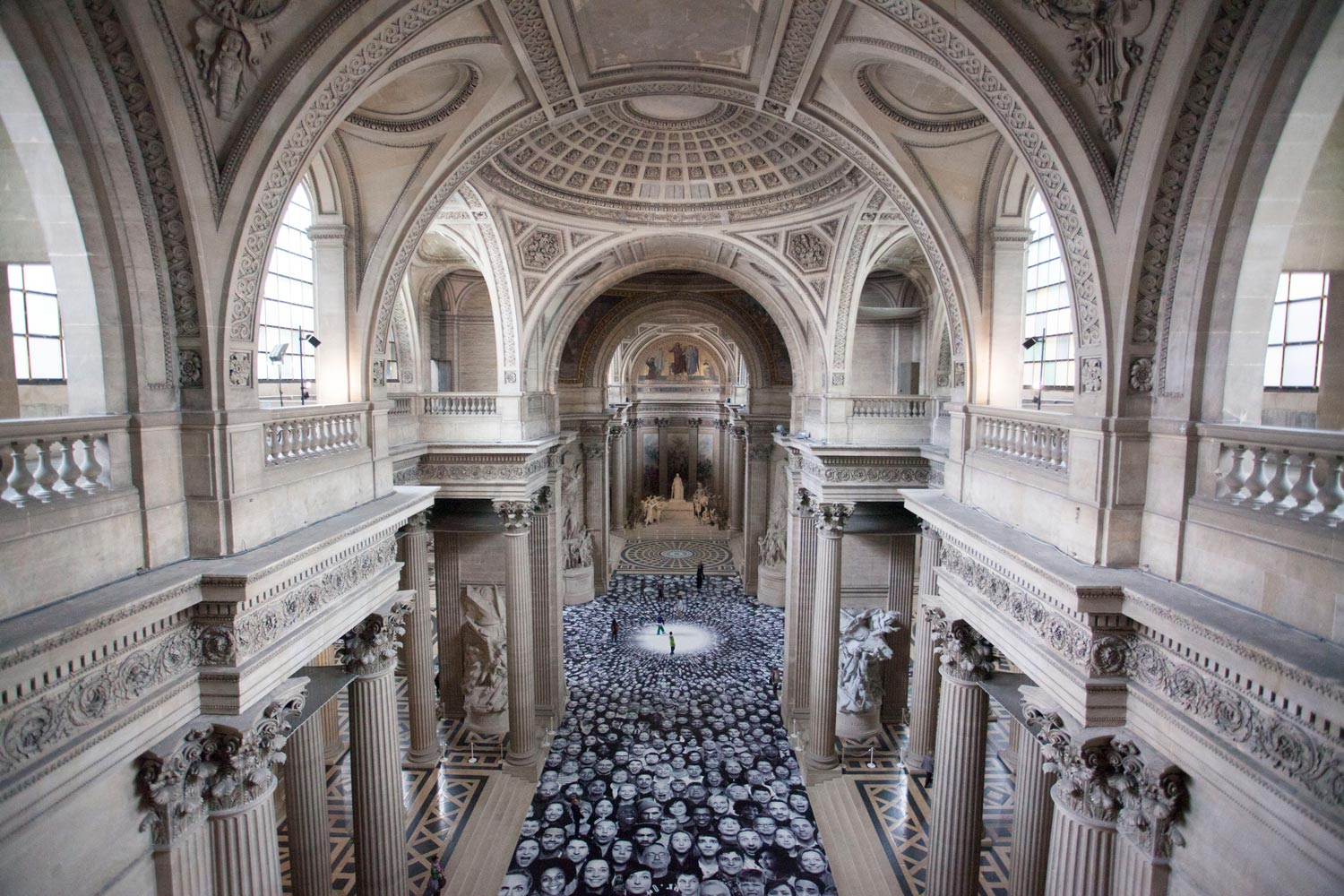 JR installed more than 4,000 self-portraits in the Pantheon in Paris
