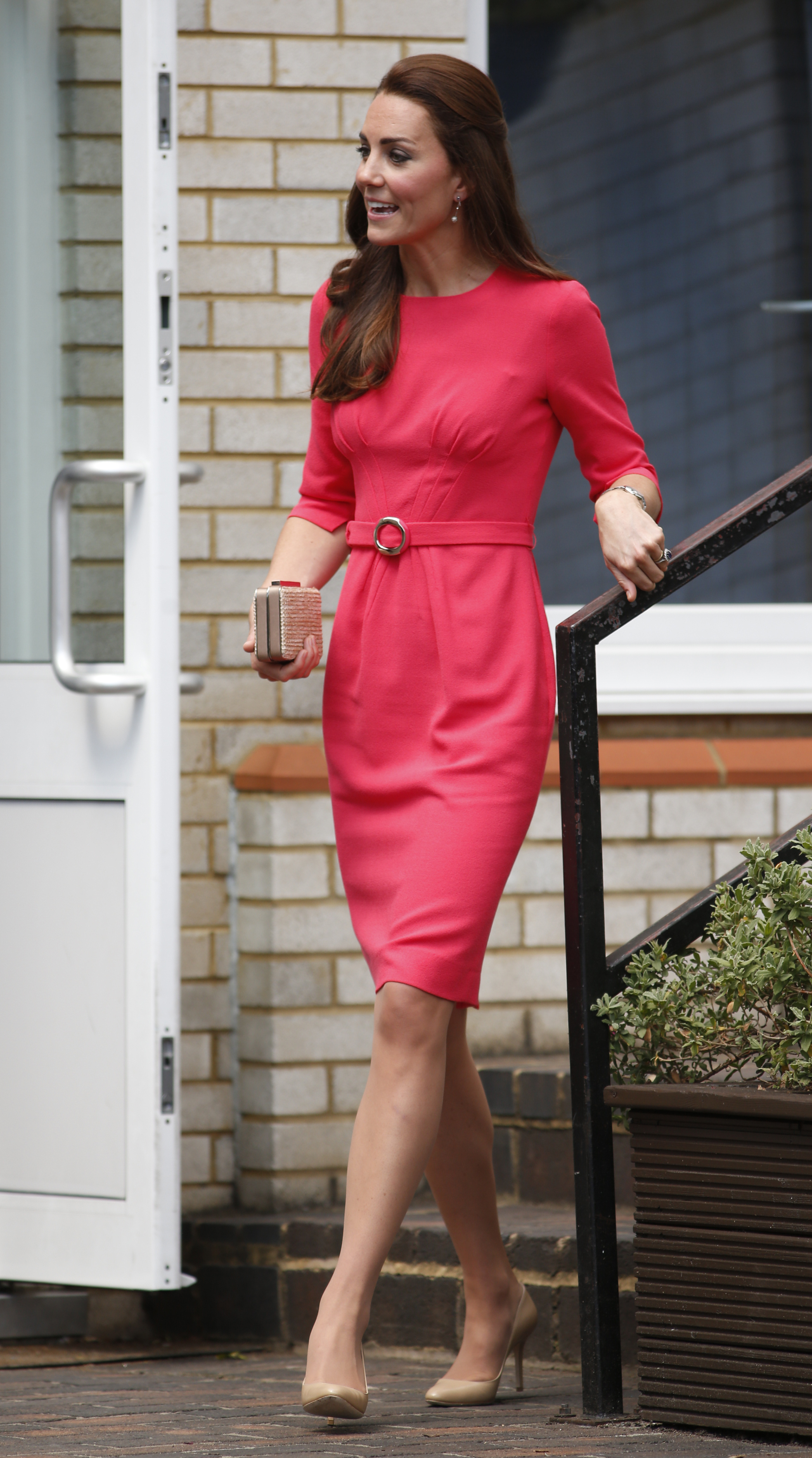 <strong>Perfectly Pink </strong>Britain's Catherine, the Duchess of Cambridge, leaves the Blessed Sacrament School in London on July 1, 2014.
