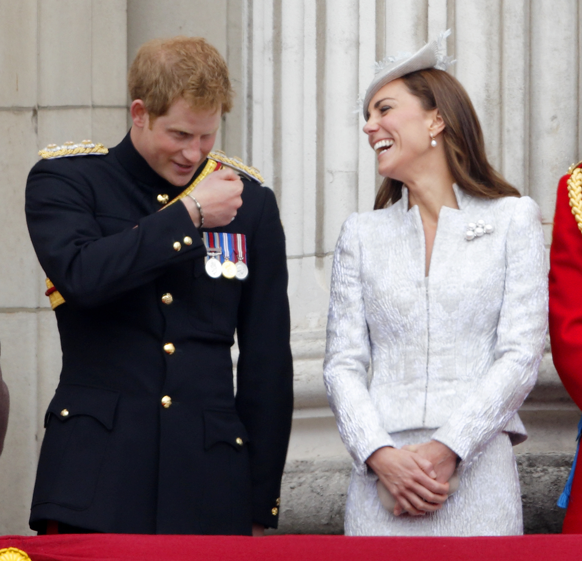 <strong>Jovial in Jacquard </strong>Prince Harry and Catherine, Duchess of Cambridge watch the fly-past from the balcony of Buckingham Palace during Trooping the Colour, Queen Elizabeth II's Birthday Parade on June 14, 2014 in London.