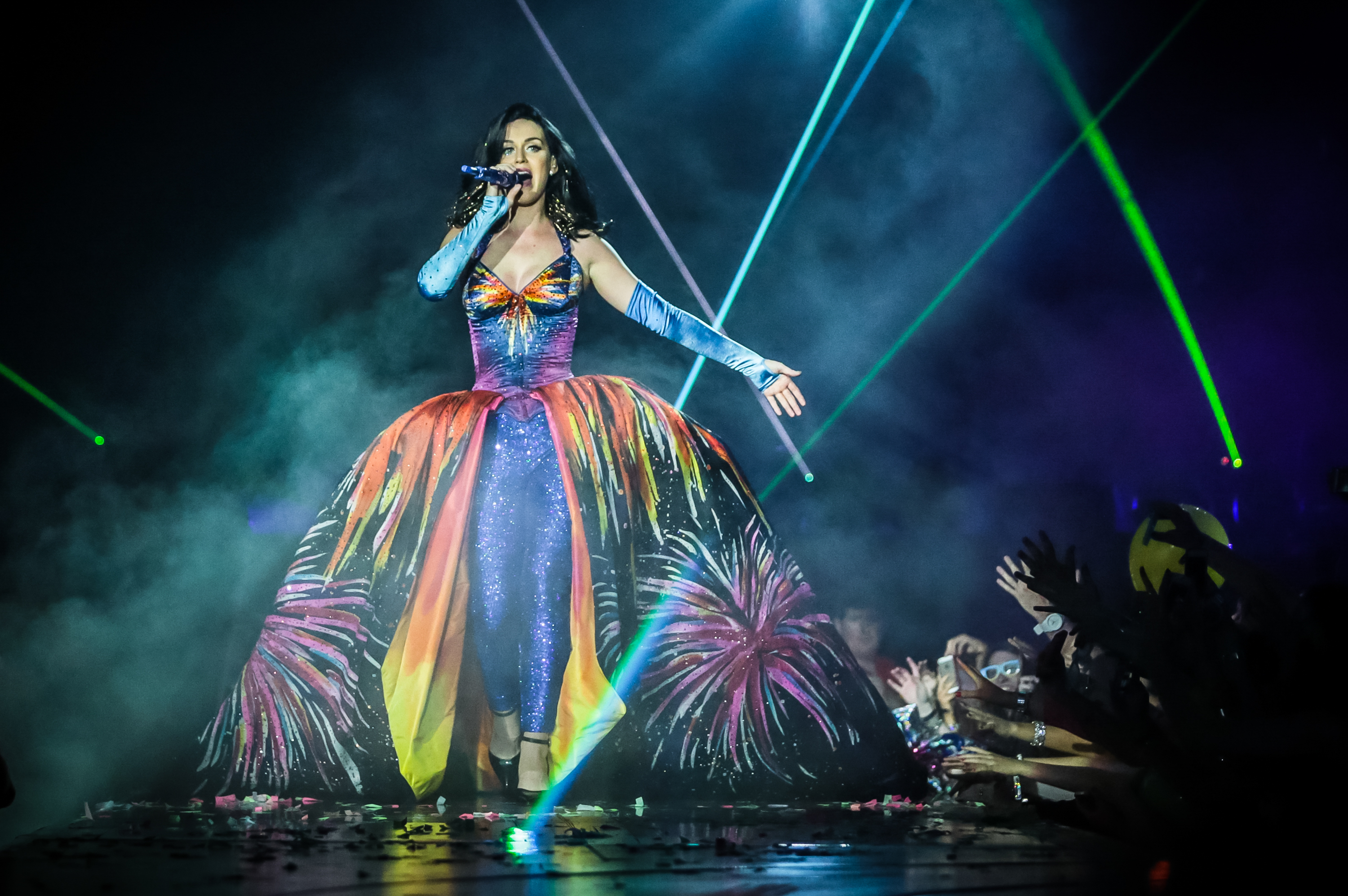 Katy Perry performs on stage on the second night of her Prismatic World Tour at Odyssey Arena on May 8, 2014 in Belfast, Northern Ireland.