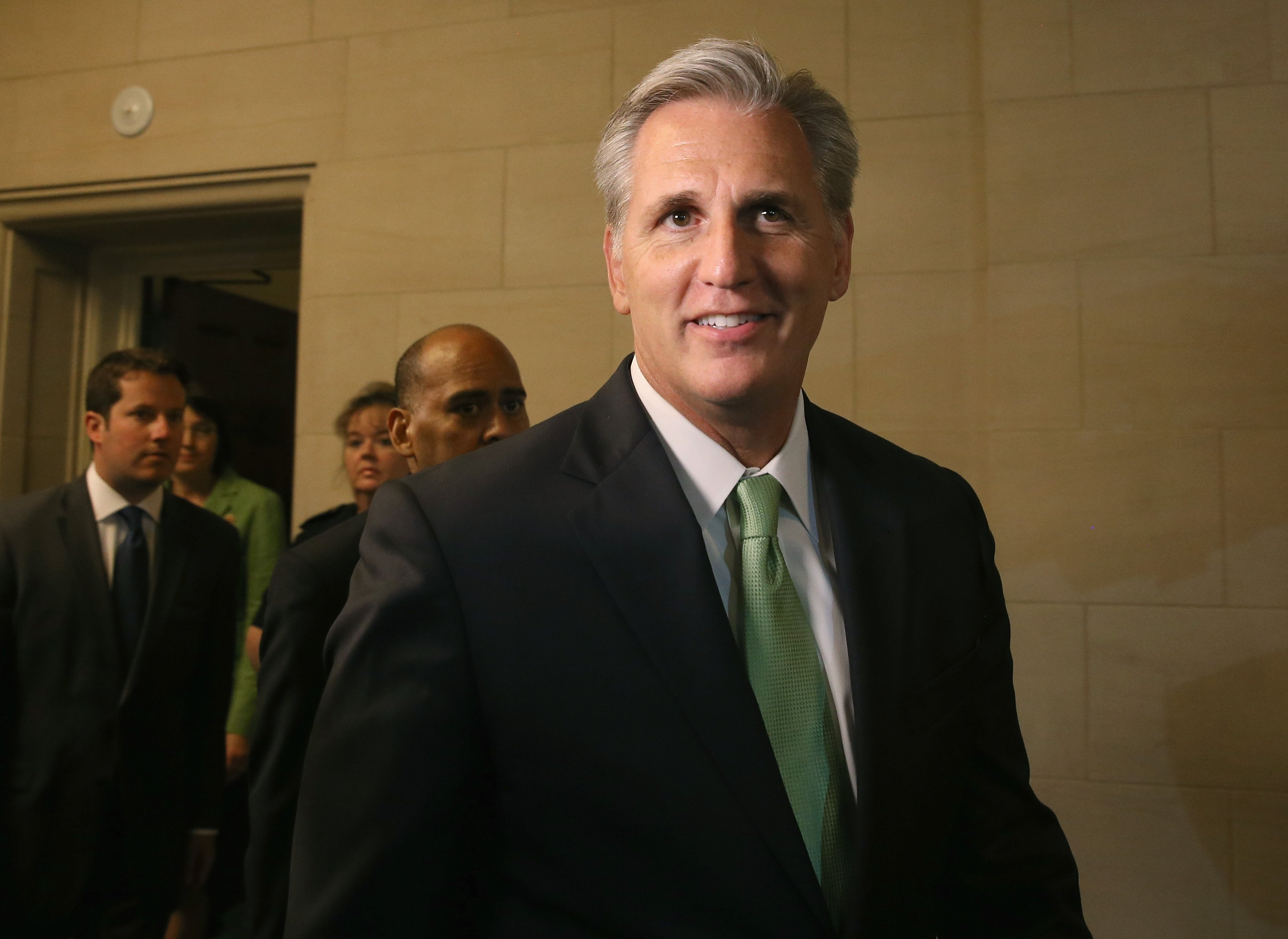 WASHINGTON, DC - JUNE 19: Newly elected House Majority Leader Rep Kevin Mccarthy (R-CA) walks out of a House Republican Conference meeting June 19, 2014 on Capitol Hill in Washington.