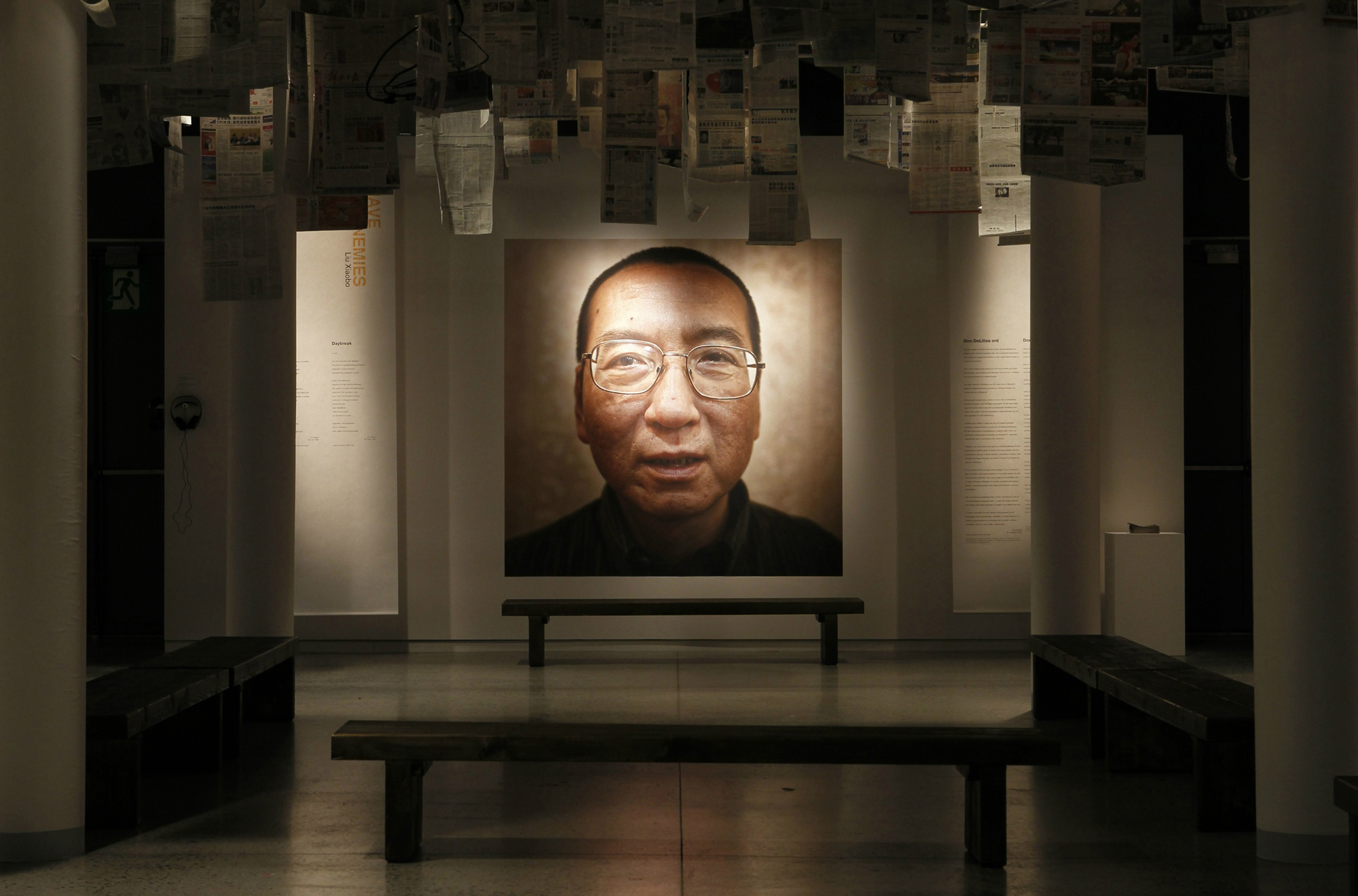A picture of 2010 Nobel Peace Laureate Liu Xiaobo is seen at an exhibition at the Nobel Peace Center in Oslo in 2010.
