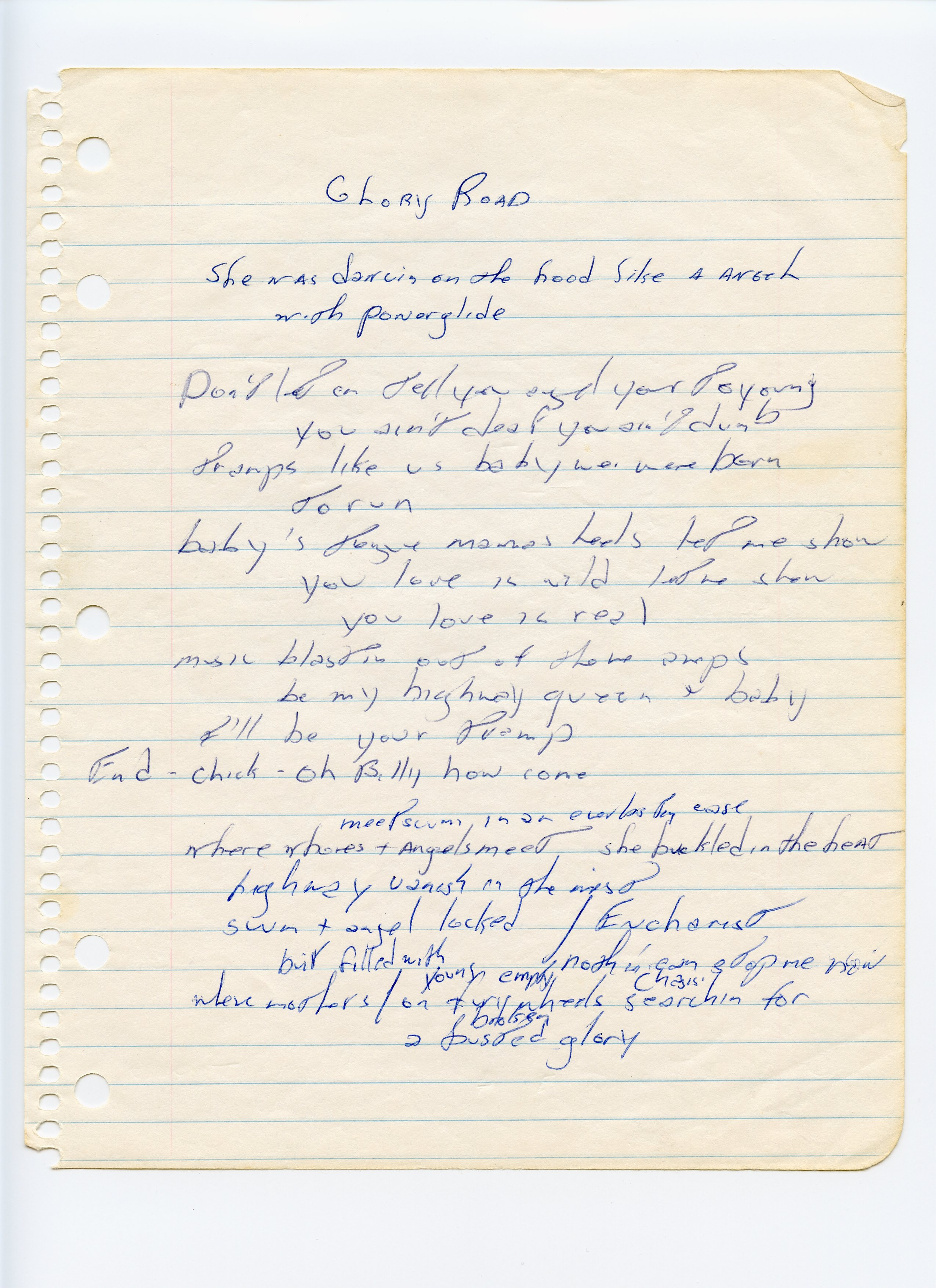 Lyrics to the song  Glory Road,  which Crane says became  Born to Run  — the words  born to run  appear on the page.