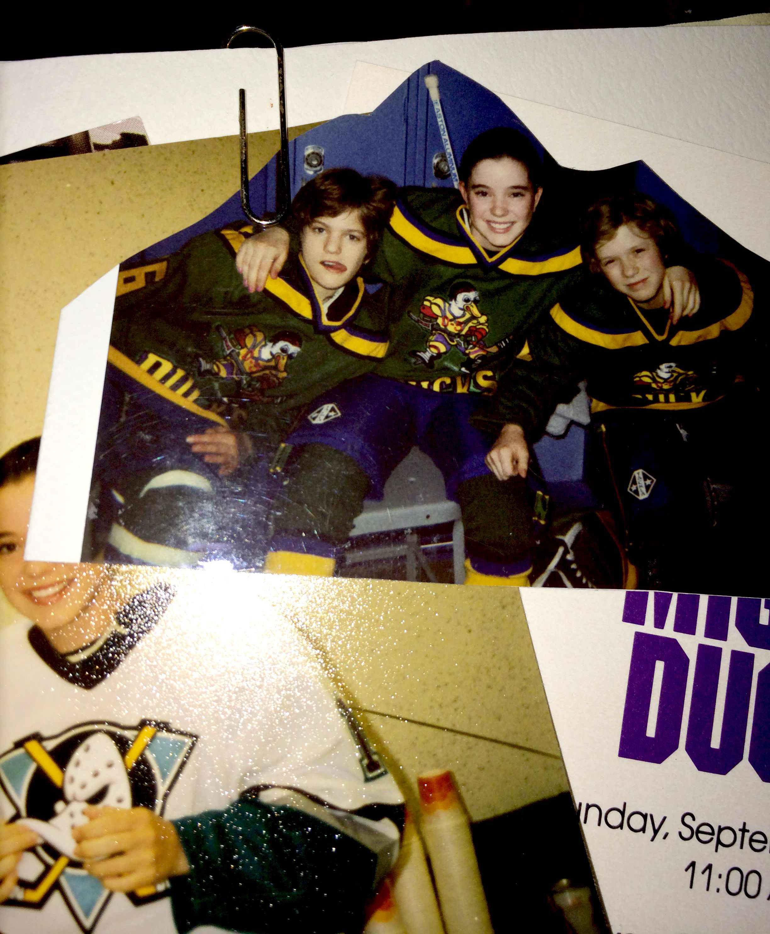 Joshua Jackson (Charlie Conway), Marguerite Moreau (Connie Moreau) and Garette Henson (Guy Germaine) wearing the Mighty Ducks uniforms from the first movie.