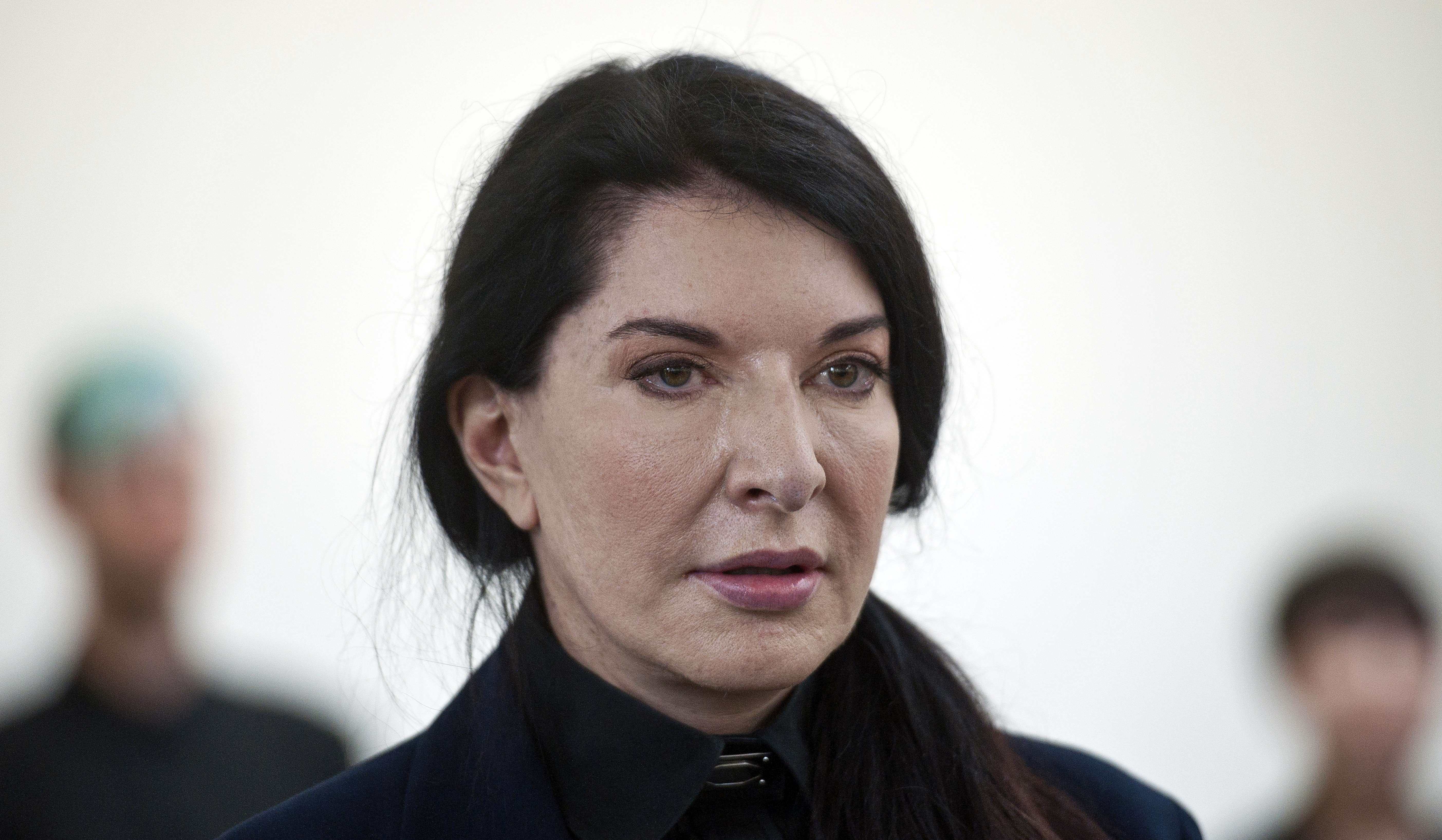 Serbian-born performance artist Marina Abramovic attends a press conference to announce her latest durational performance at the Serpentine Gallery in Hyde Park, London on June 9, 2014.