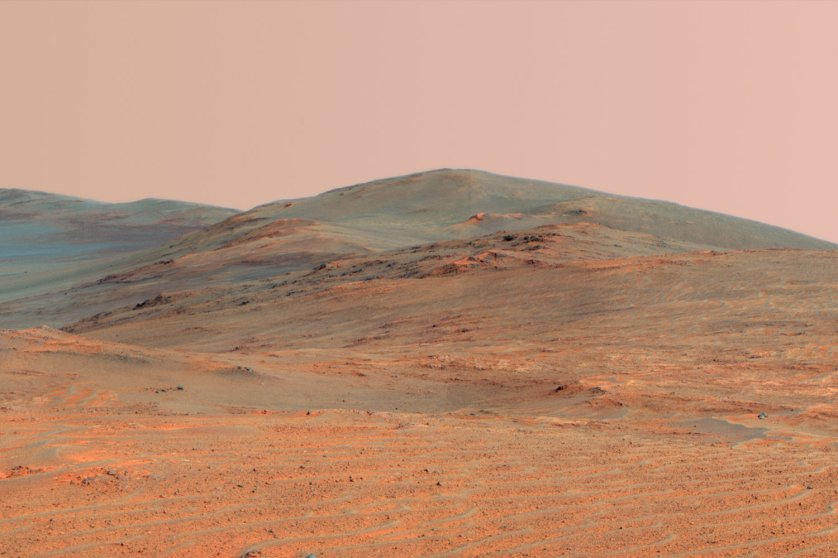 This vista of the Endeavour Crater rim taken by Opportunity Rover combines several exposures taken by the rover's panoramic camera (Pancam) on the 3,637th Martian day, or sol, of the mission on April 18, 2014 and was released on May 19, 2014.