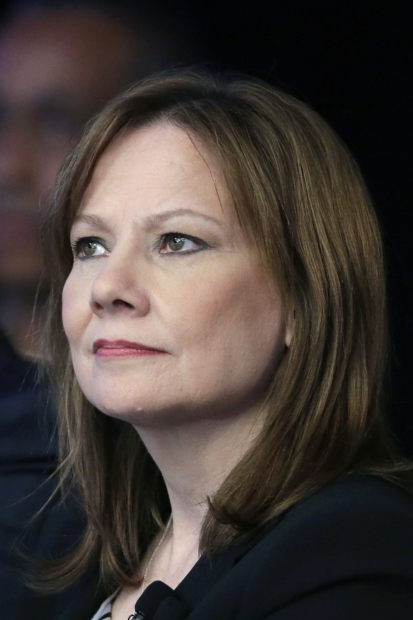 Mary Barra, CEO of General Motors watches the introduction of new Chevrolet cars at the New York International Auto Show, in New York City, April 15, 2014.