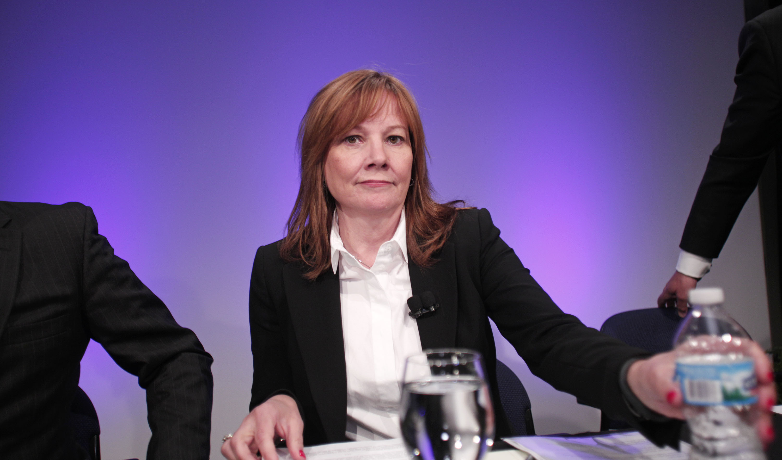 General Motors Chief Executive Officer Mary Barra sits for a press conference at the General Motors Technical Center on June 5, 2014 in Warren, Mich.