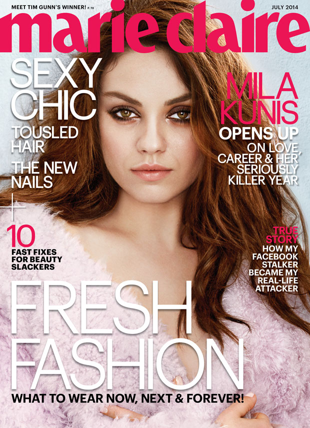 Mila Kunis on the cover of the July issue of Marie Claire