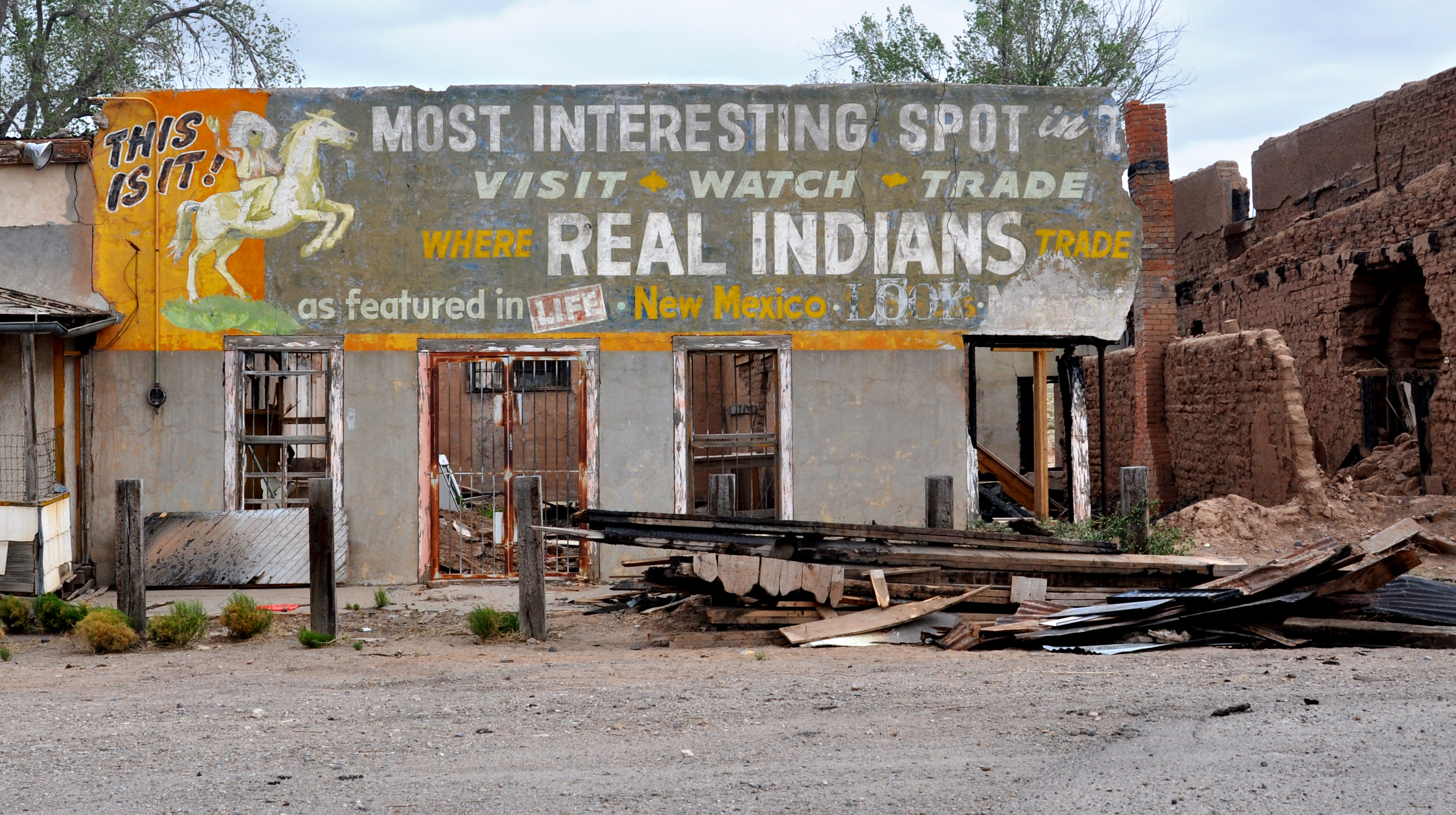 The ruins of a once-popular stop on historic Route 66, the Santo Domingo Indian Trading Post, awaits restoration, Santo Domingo Pueblo, N.M., Aug. 2012.