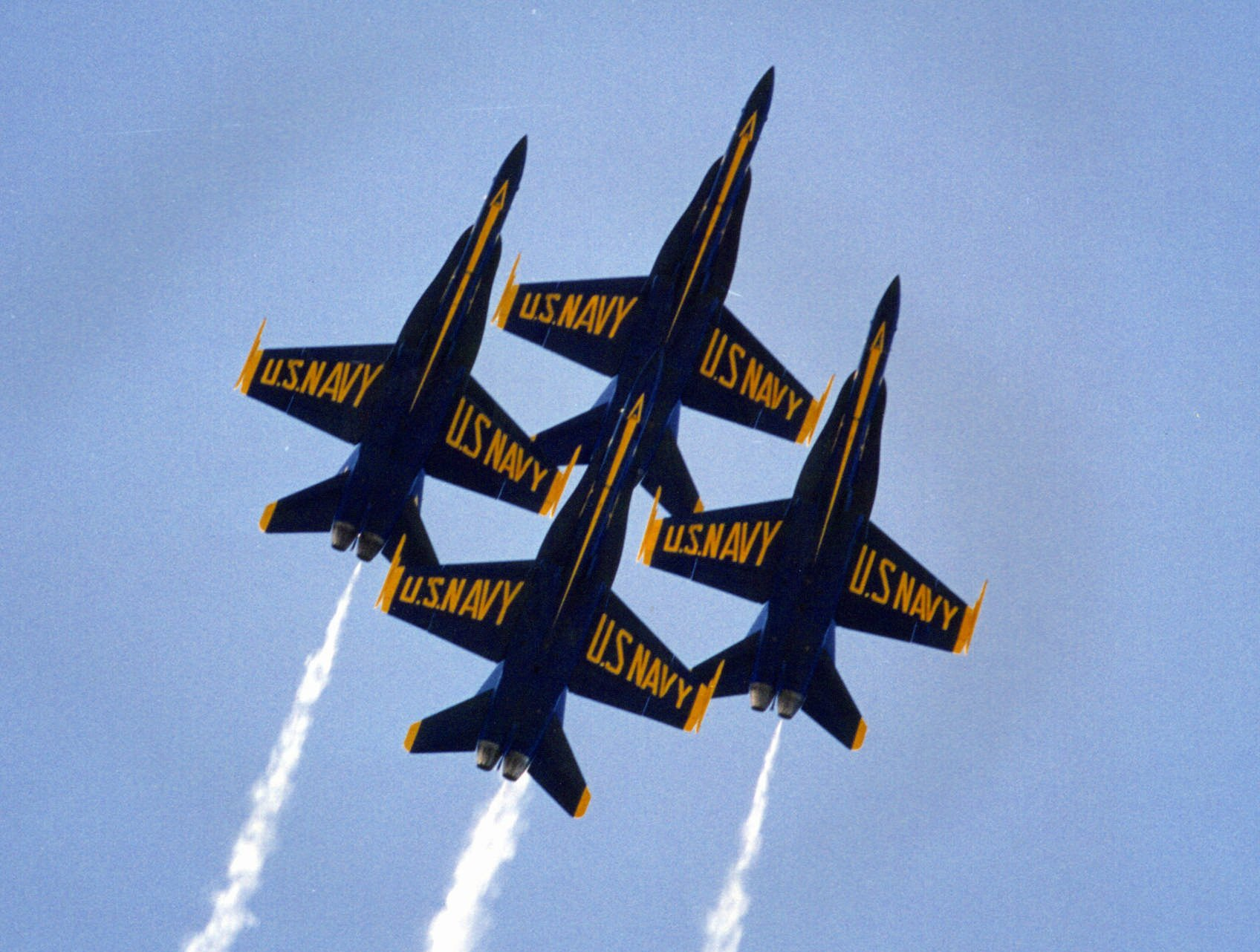 This is an undated photo of the U.S. Navy's Blue Angels precision flying team.