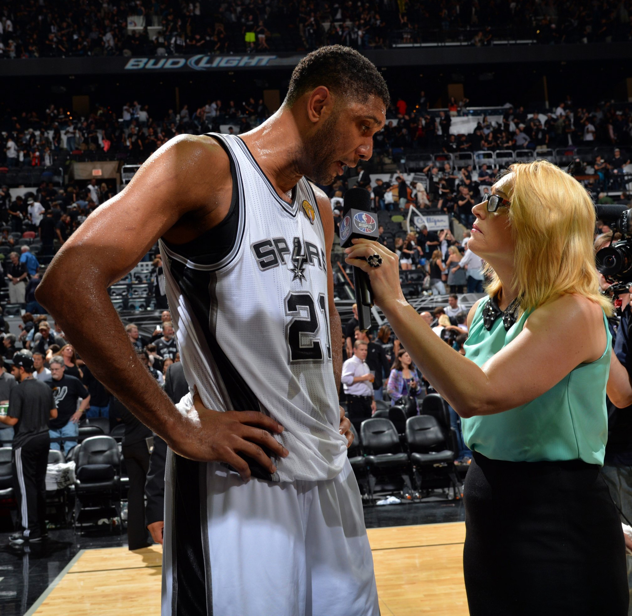 Tim Duncan #21 of the San Antonio Spurs speaks with the media after the game against the Miami Heat during Game 1 of the 2014 NBA Finals  in San Antonio on June 5, 2014.