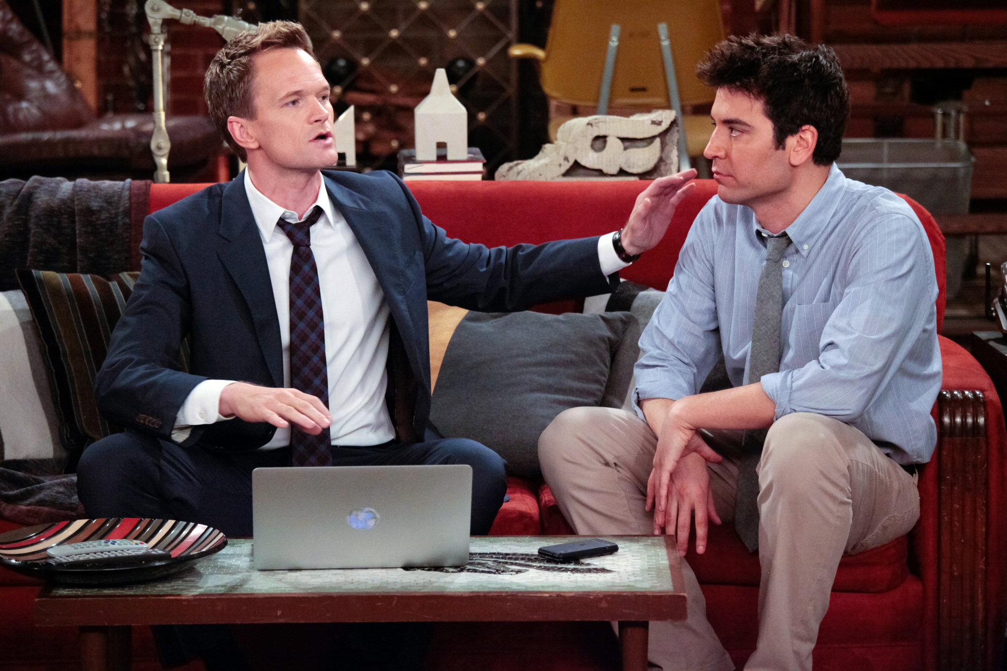 Barney (Neil Patrick Harris) and Ted Mosby (Josh Radnor) on HOW I MET YOUR MOTHER.