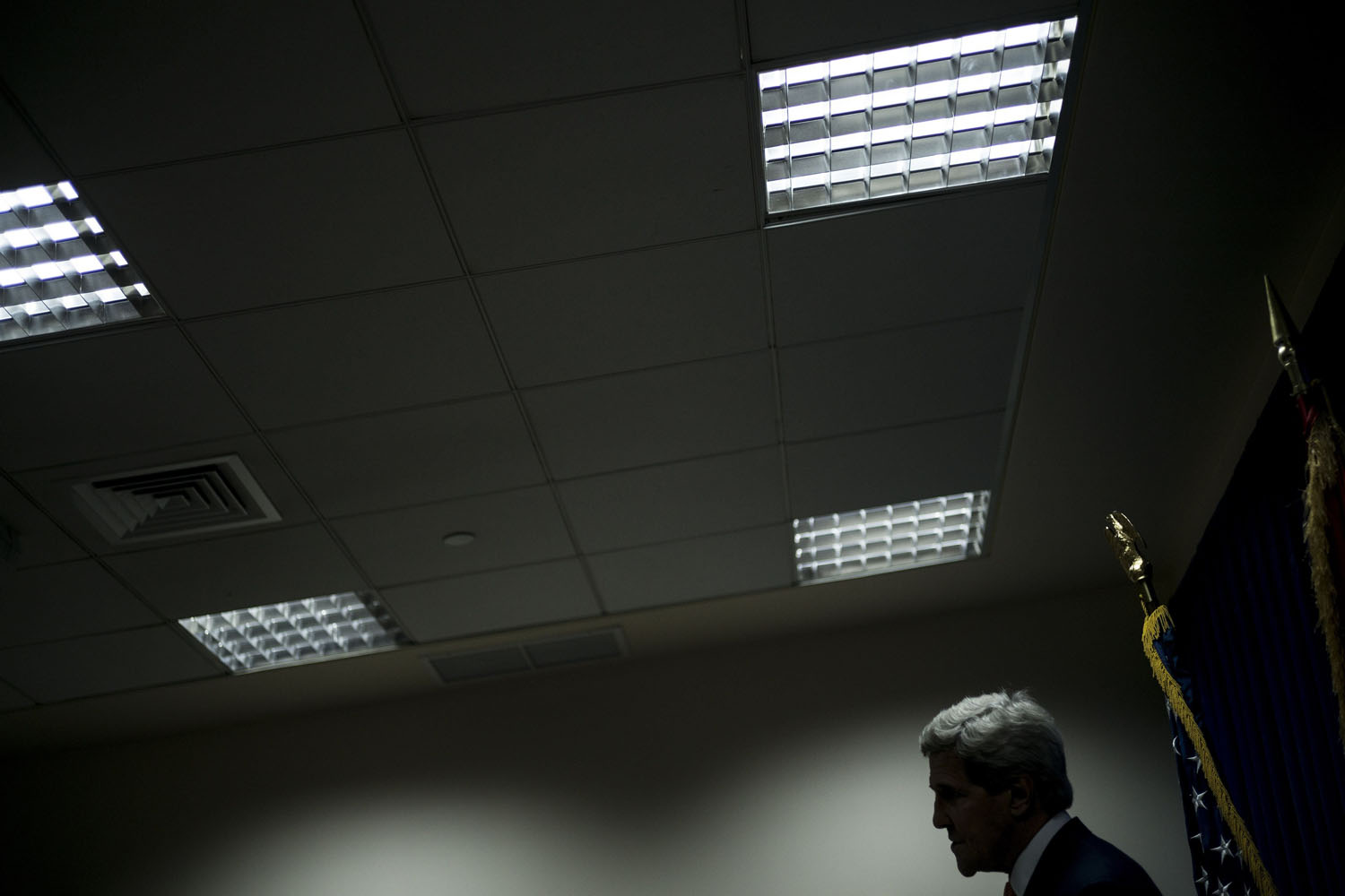 Jun. 23, 2014. US Secretary of State John Kerry pauses while speaking during a press conference at the US embassy in the International Zone in the Iraqi capital Baghdad.