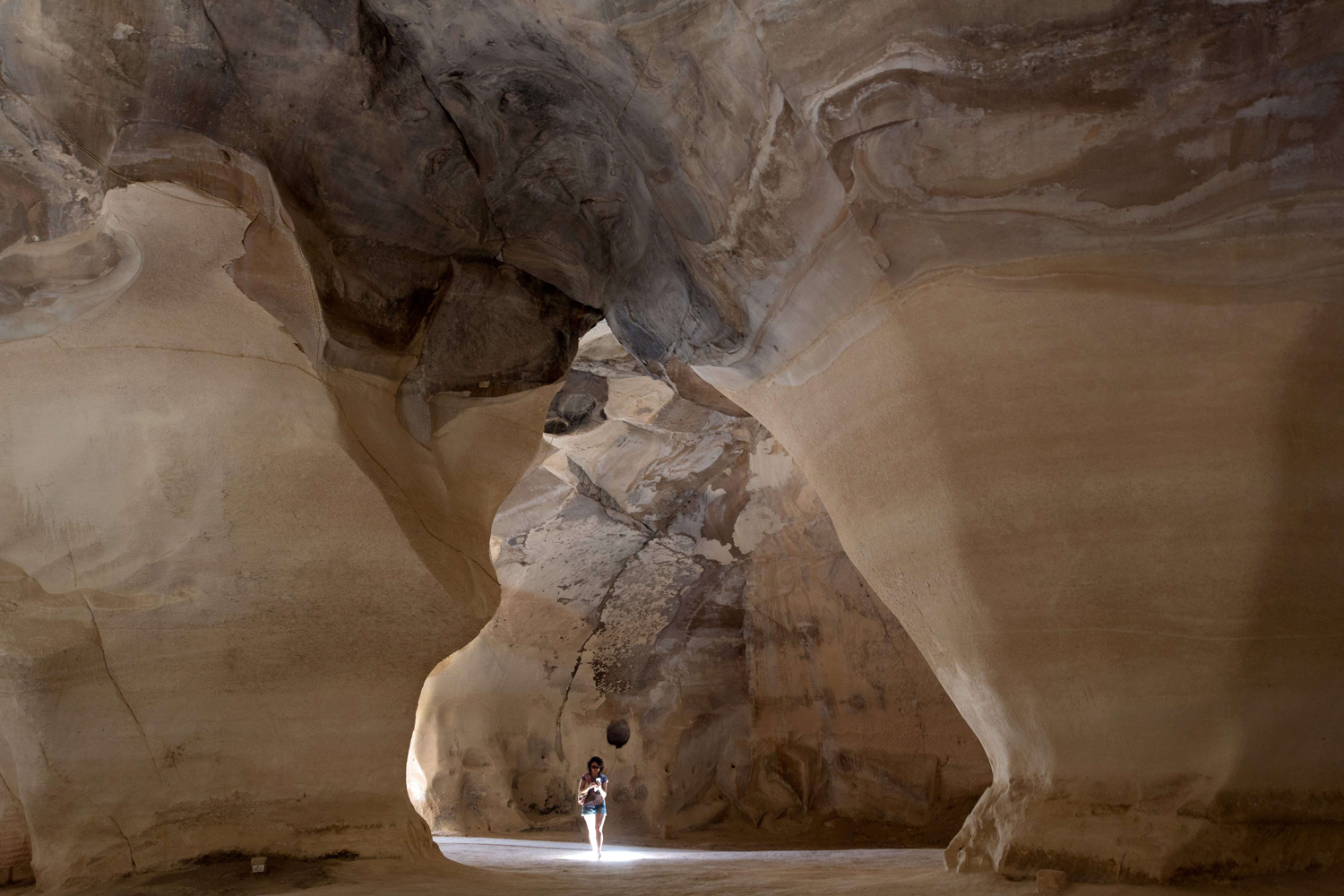 Jun. 24 2014. Tourists visit the Bell caves locate at the Beit Guvrin-Maresha National Park in central Israel.