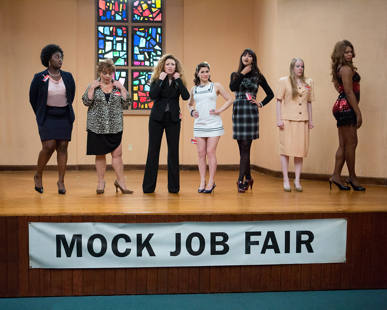 "From left to right, Danielle Brooks, Lin Tucci, Natasha Lyonne, Yael Stone, Jackie Cruz, Emma Myles and Laverne Cox in a scene from Netflix's ""Orange is the New Black"" Season 2."