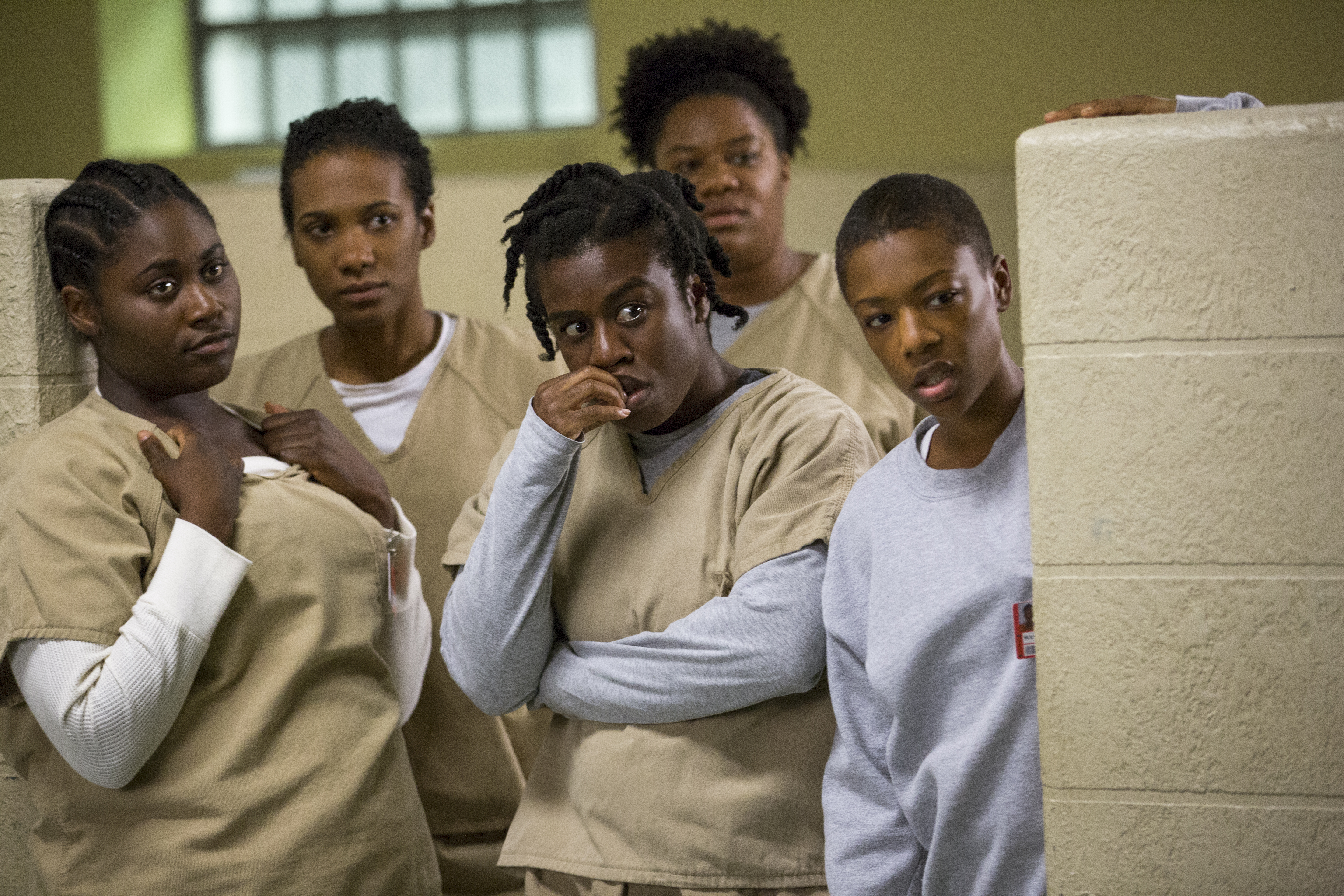 (L-R) Danielle Brooks, Vicky Jeudy, Uzo Aduba, Adrienne C. Moore, and Samira Wiley in a scene from Netflix's Orange is the New Black Season 2.