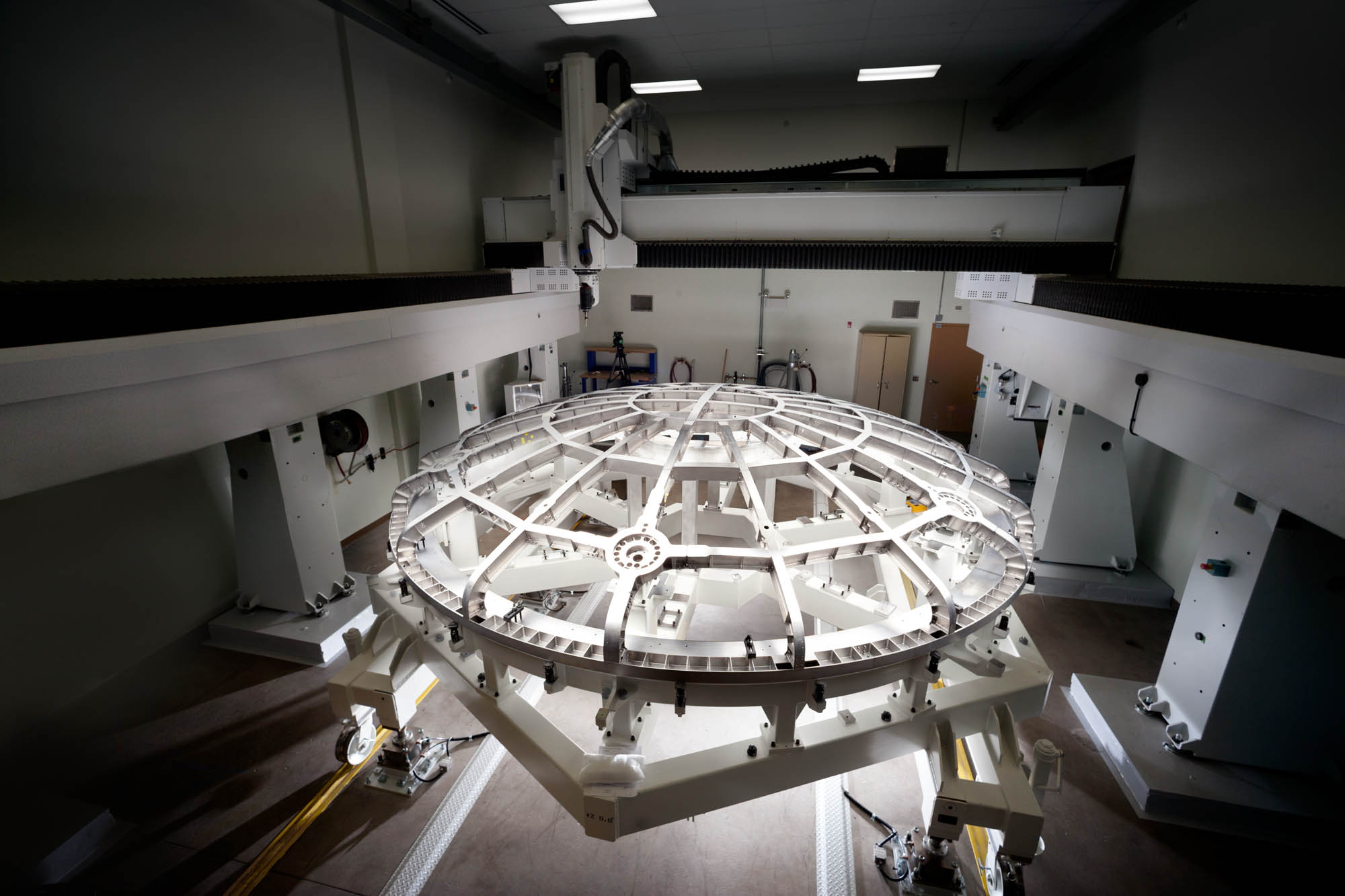 The 16.5 ft. diameter, titanium heat shield was fabricated by Lockheed Martin in Denver for the Orion spacecraft. The shield will have to withstand temperatures of 4,000 degrees Fahrenheit.