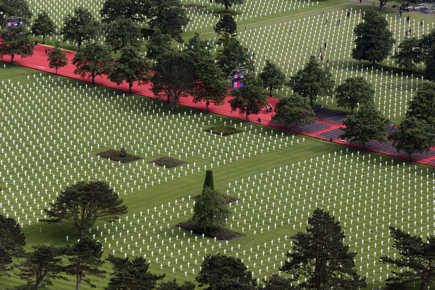 June 3, 2014. An aerial view of the American cemetary in Colleville-sur-Mer, near Omaha beach, on  as preparations were being made for the upcoming D-Day commemoration events on June 6.