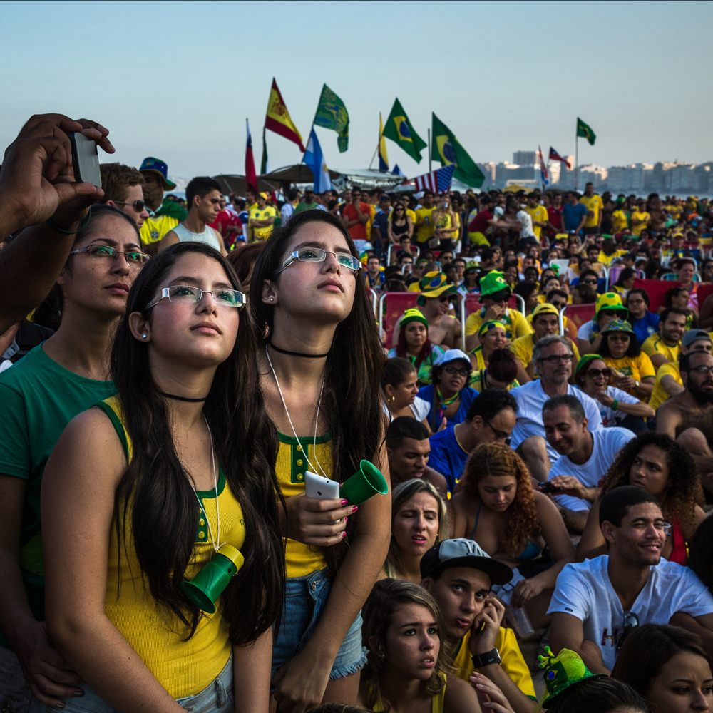 June 17, 2014. Brazilian fans watch the Brazil versus Mexico game on the big screen at Copacabana beach where people are gathering to watch the matches. The match ended 0 - 0.