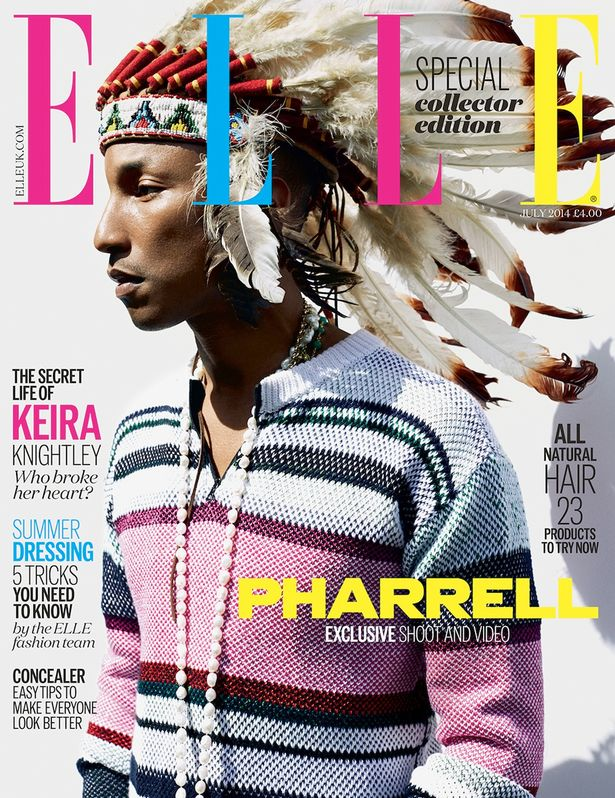 Pharrell wears a headdress on Elle U.K. cover