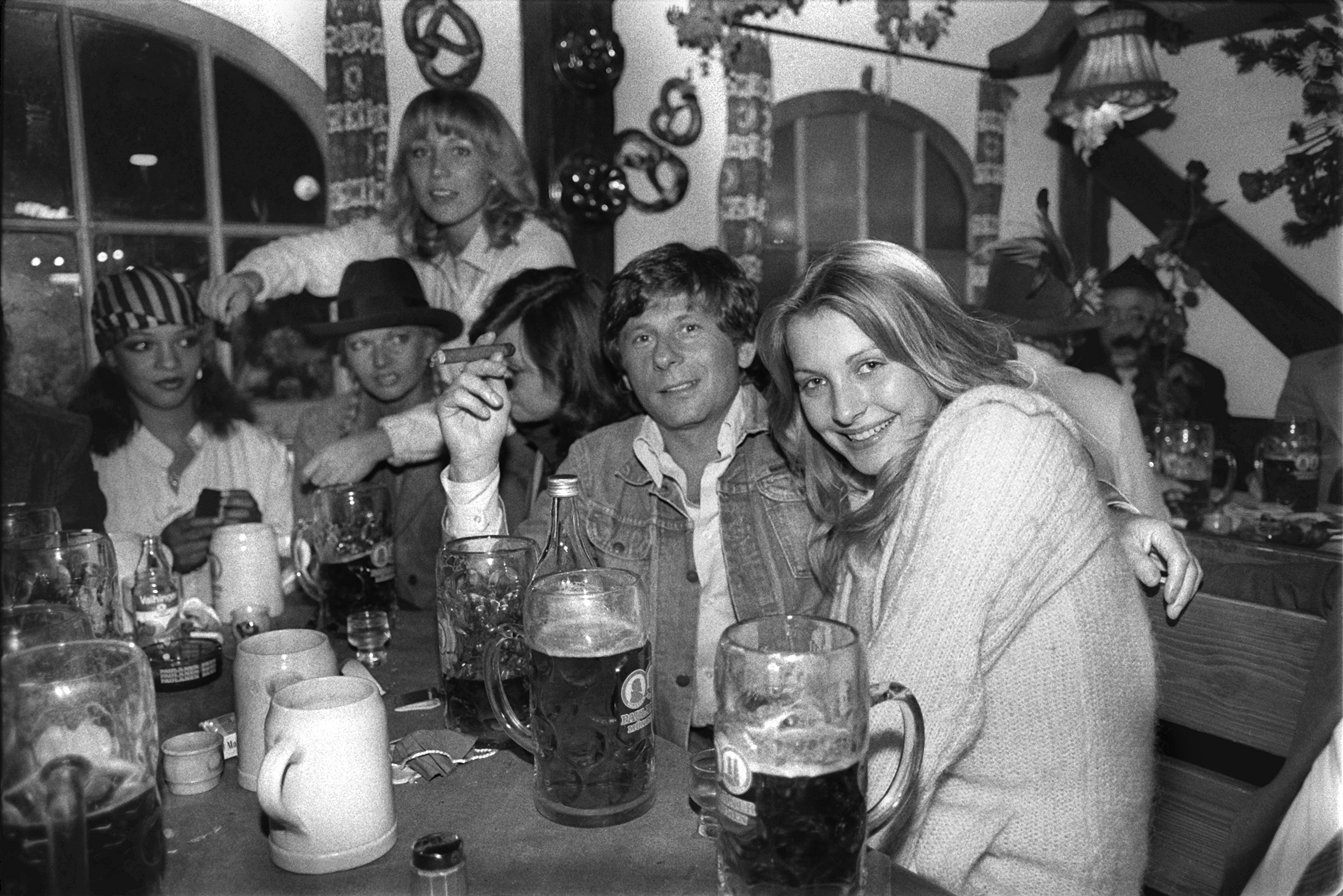 Director Roman Polanski smokes a cigarette and drinks a beer at Oktoberfest, Sept.29, 1977.