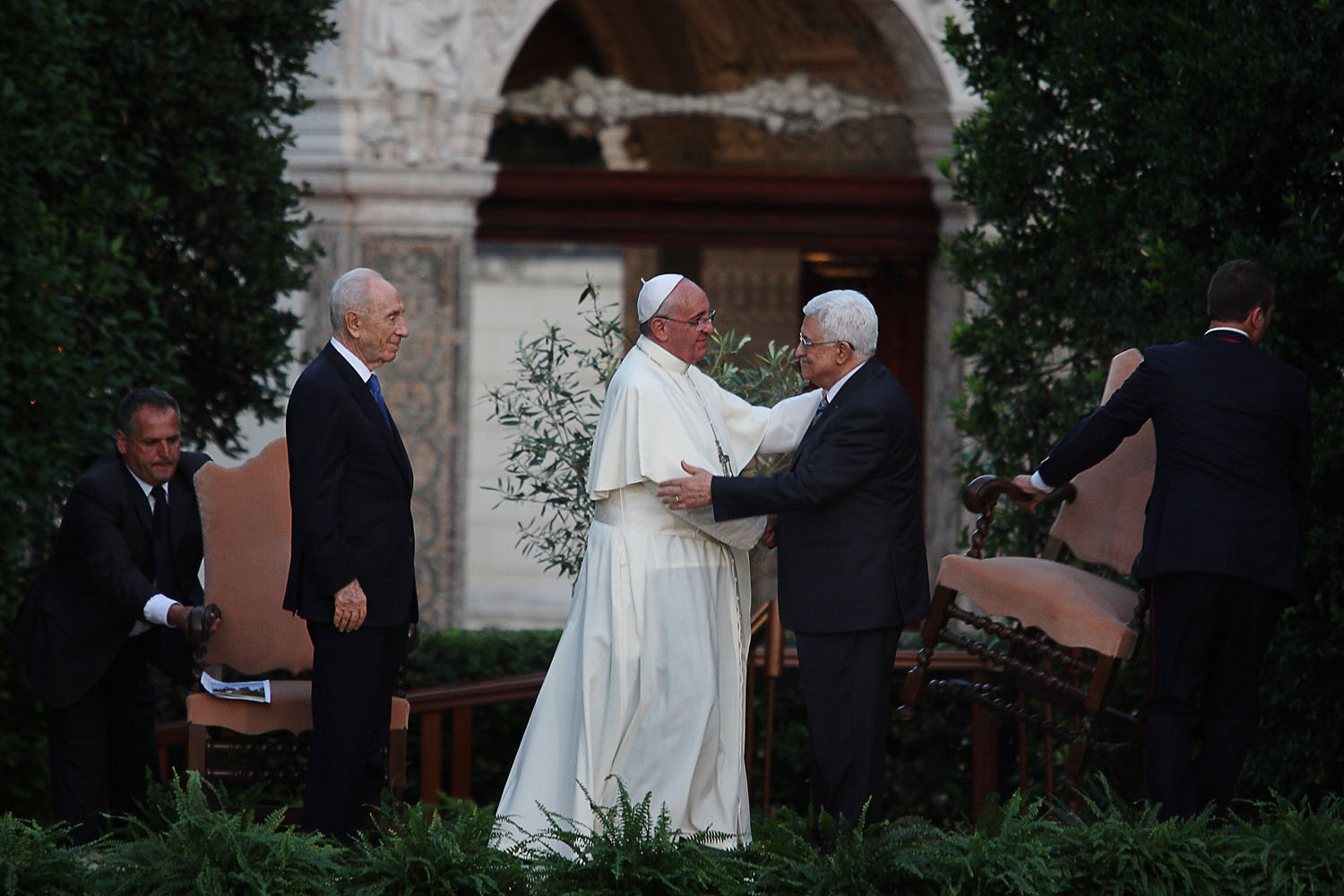 Jun. 8, 2014. Pope Francis (C) with Palestinian leader Mahmud Abbas (R) and Israeli President Shimon Peres during a joint peace prayer at the Vatican Gardens.