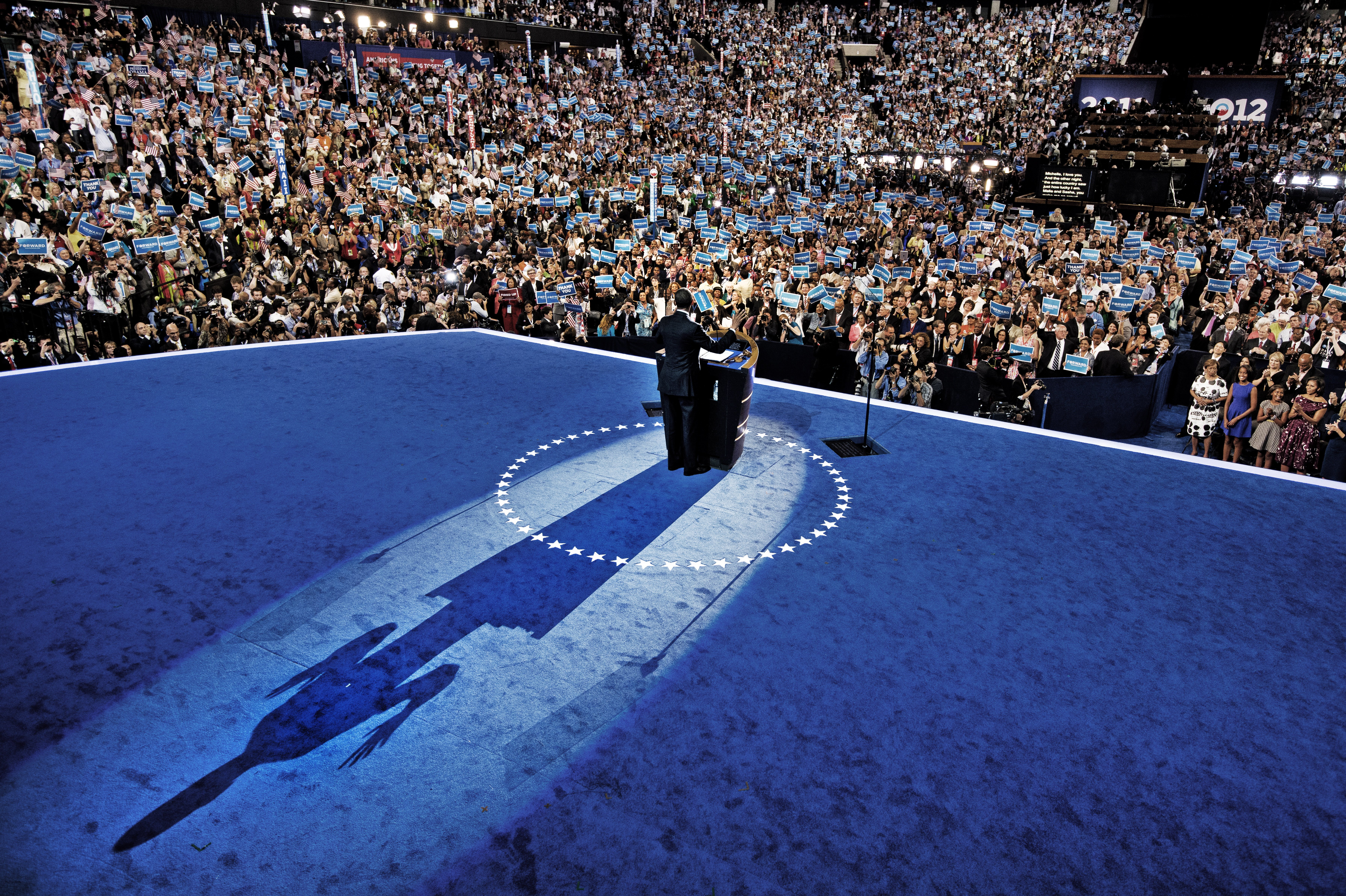 President Barack Obama onstage at the Democratic National Convention at the Time Warner Cable Arena on September 6, 2012 in Charlotte, N.C.