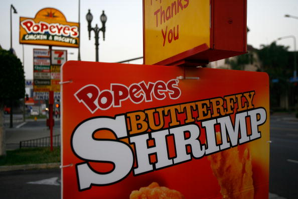 A sign displayed outside a Popeyes outlet in Los Angeles, California.