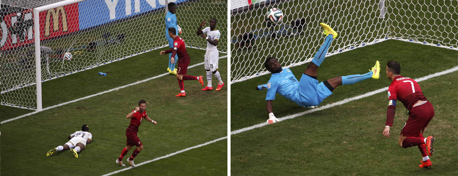 Meanwhile in the Ghana vs. Portugal match...(R) Portugal's Cristiano Ronaldo watches the ball after Ghana's goalkeeper Fatau Dauda made a save. (L) Ghana's John Boye scores an own goal during the Group G match at the Brasilia national stadium in Brasilia Brazil on June 26, 2014.