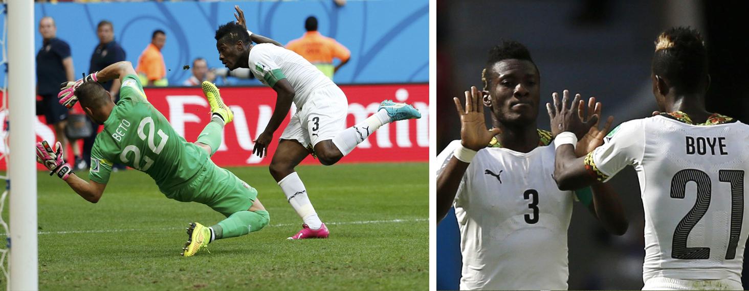 (L) Ghana's Asamoah Gyan scores past Portugal's goalkeeper Bet. (R) Asamoah Gyan celebrates scoring a goal with teammate John Boye during their match against Portugal at the Brasilia National Stadium in Brasilia, Brazil on June 26, 2014.