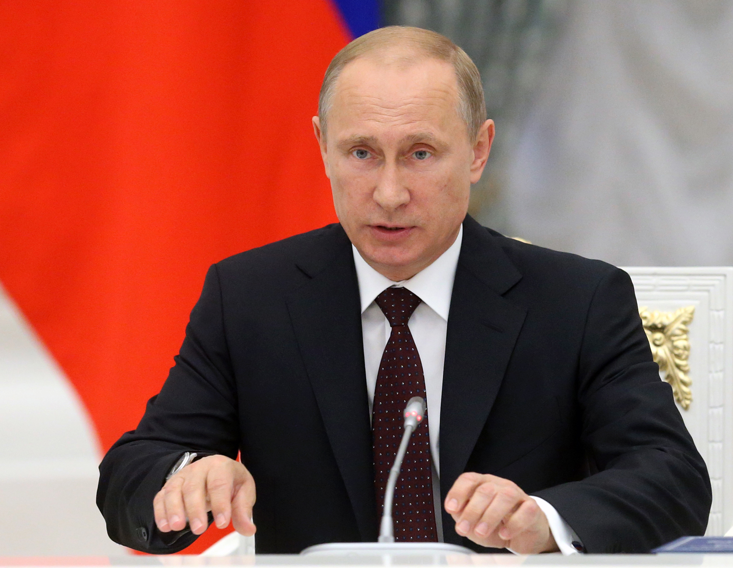 Russian President Vladimir Putin speeches during a meeting of the Coordination Council on Implementing the National Children's Strategy for 2012-2014, in the Kremlin on May 27, 2014.