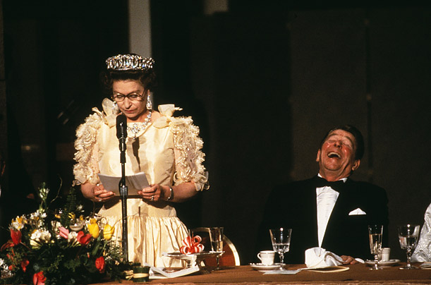 Tickled Pink The British Queen makes a joke at a 1983 state dinner.  I came without a tripod that evening,  recalls Walker.  I remember borrowing a monopod, which I promptly broke. I could only get it halfway up, so I took this picture almost sideways and doubled over — and not from laughter.