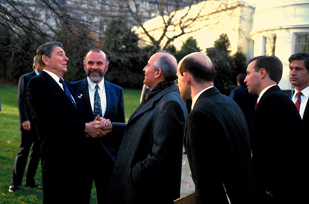 Hail Fellow  Look at the way Reagan holds Mikhail Gorbachev's hand during the U.S.S.R. leader's first visit to the White House, in 1987. You could tell they were going to be friends.