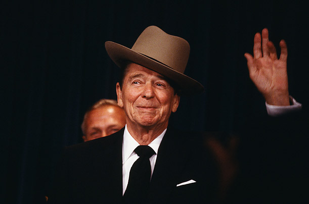 Crowd Pleaser  Reagan was the only politician I've ever known who dared take a hat, oblivious to its size, cock it to the side and charm everyone. Here, he's seen speaking before the National Law Enforcement Council, where he dons a trooper's hat presented to him by the association.