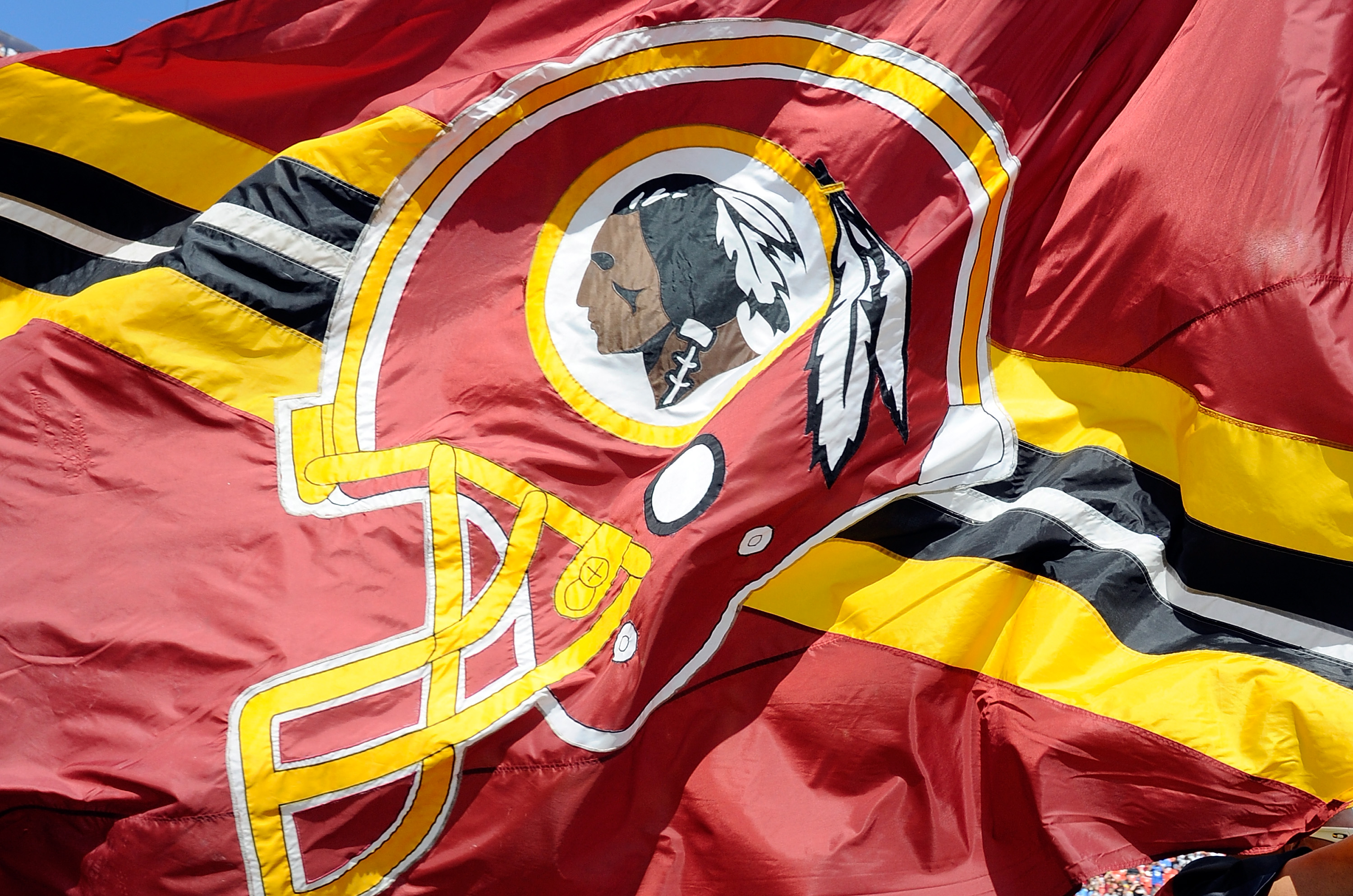 A Washington Redskins flag on the field before the game against the Detroit Lions at FedExField on September 22, 2013 in Landover, Maryland.