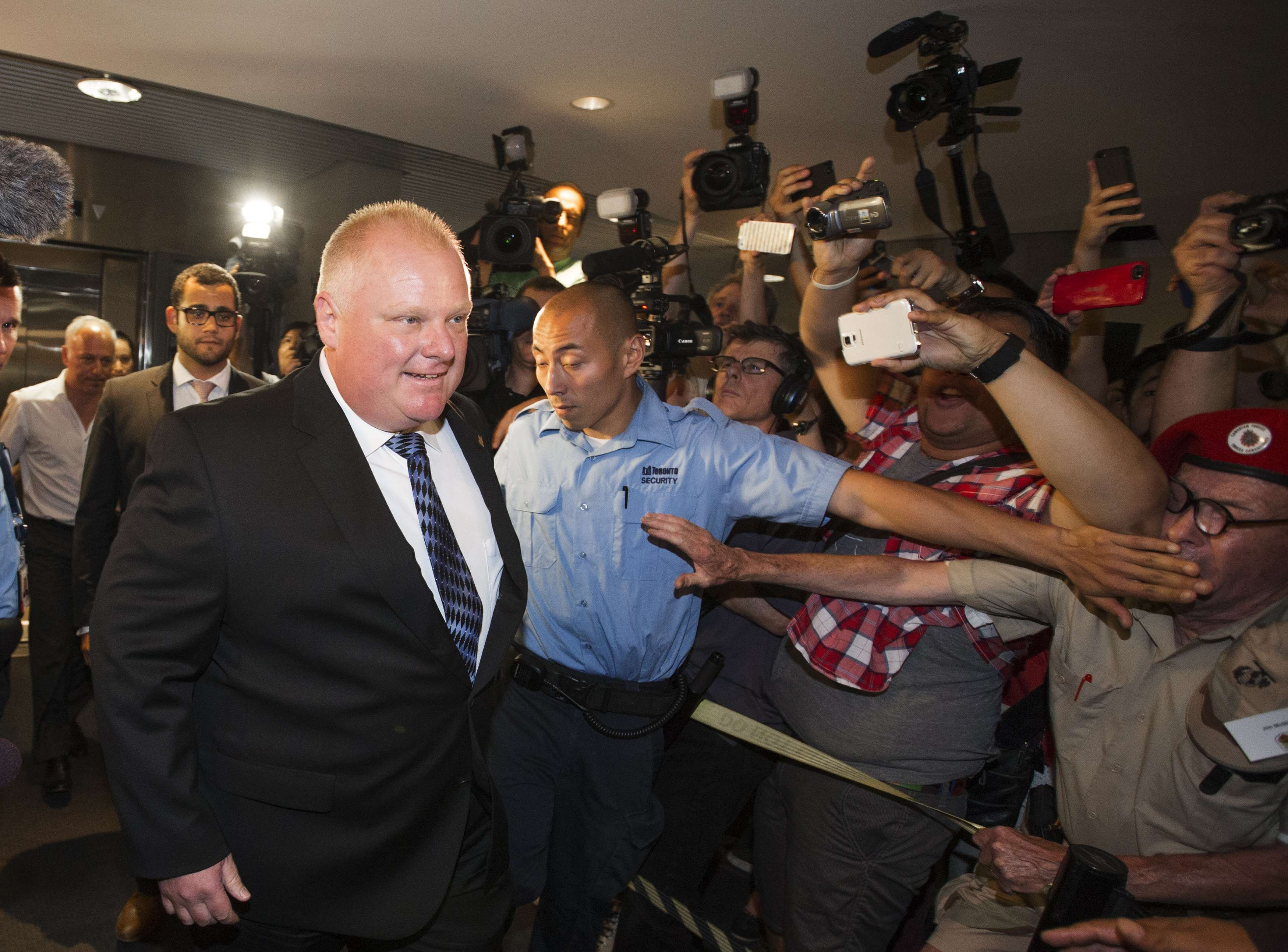Toronto Mayor Rob Ford arrives at City Hall in Toronto June 30, 2014.